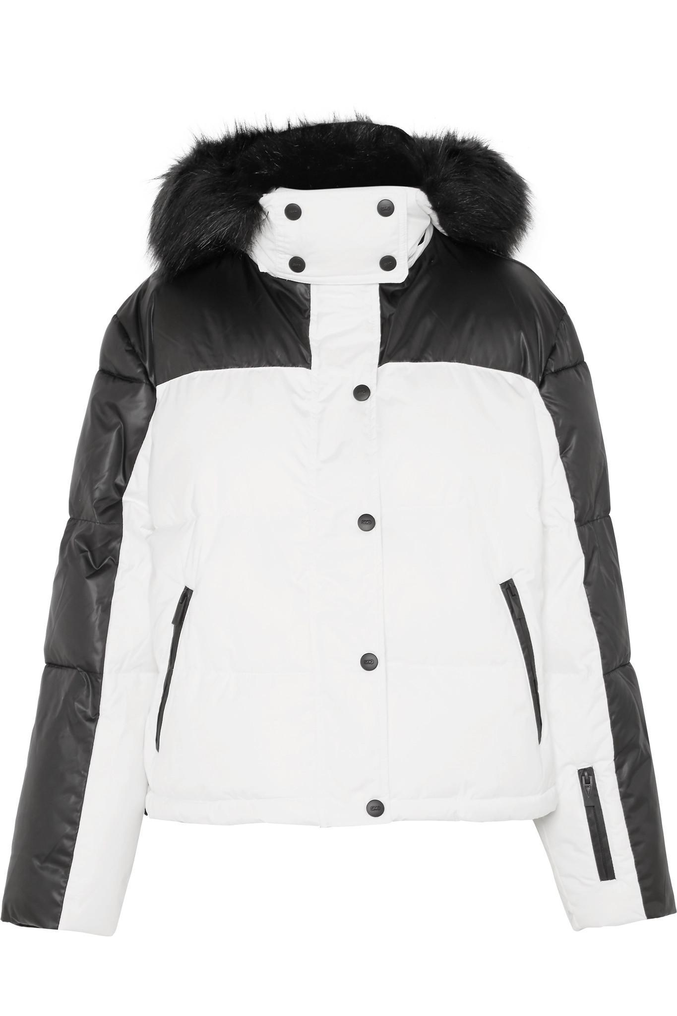 9fce24d372bf TOPSHOP Siren Hooded Faux Fur-trimmed Ski Jacket in Black - Lyst