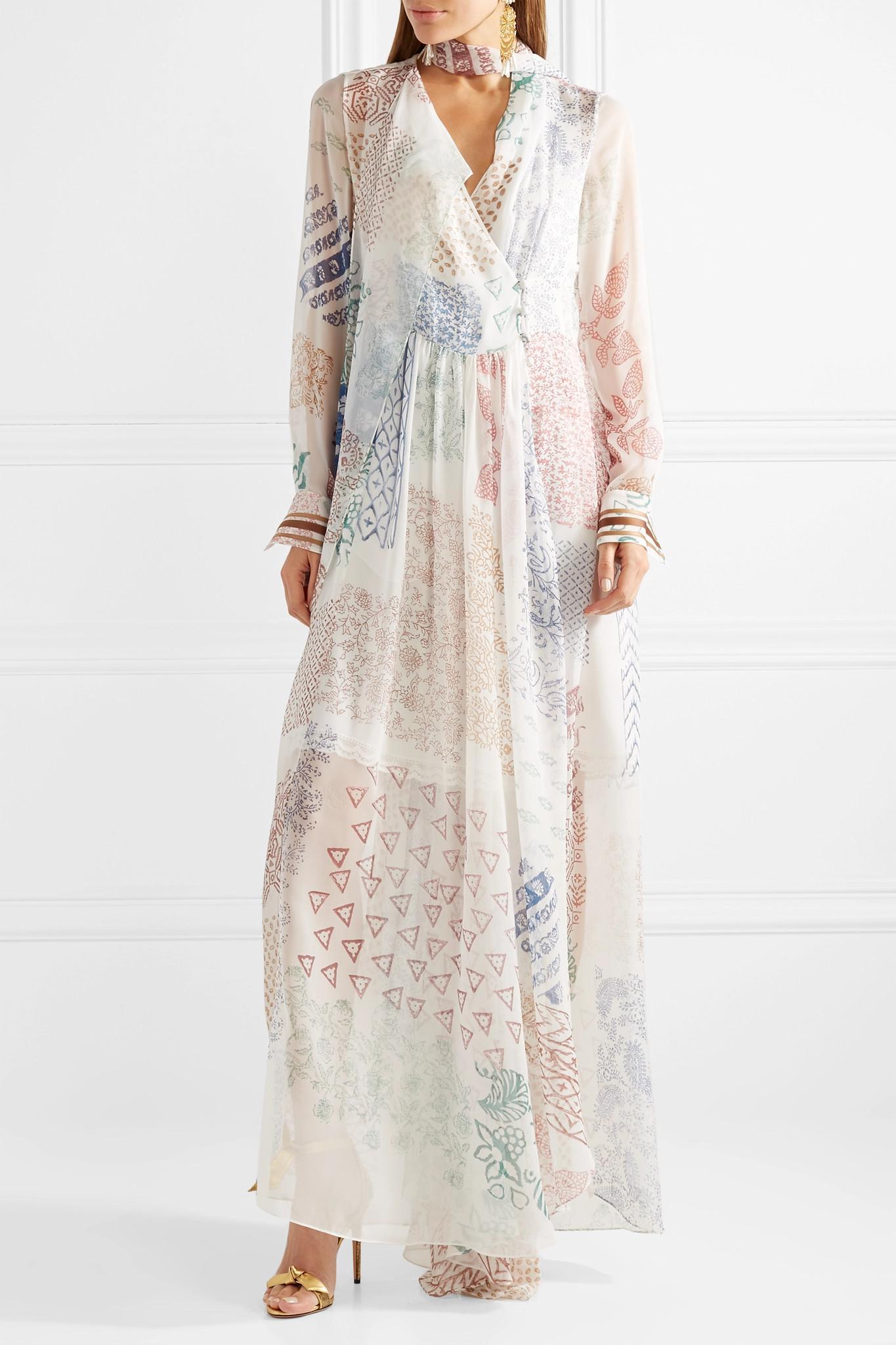 a5bb6a83a2dc Lyst - Chloé Printed Silk-chiffon Gown in White