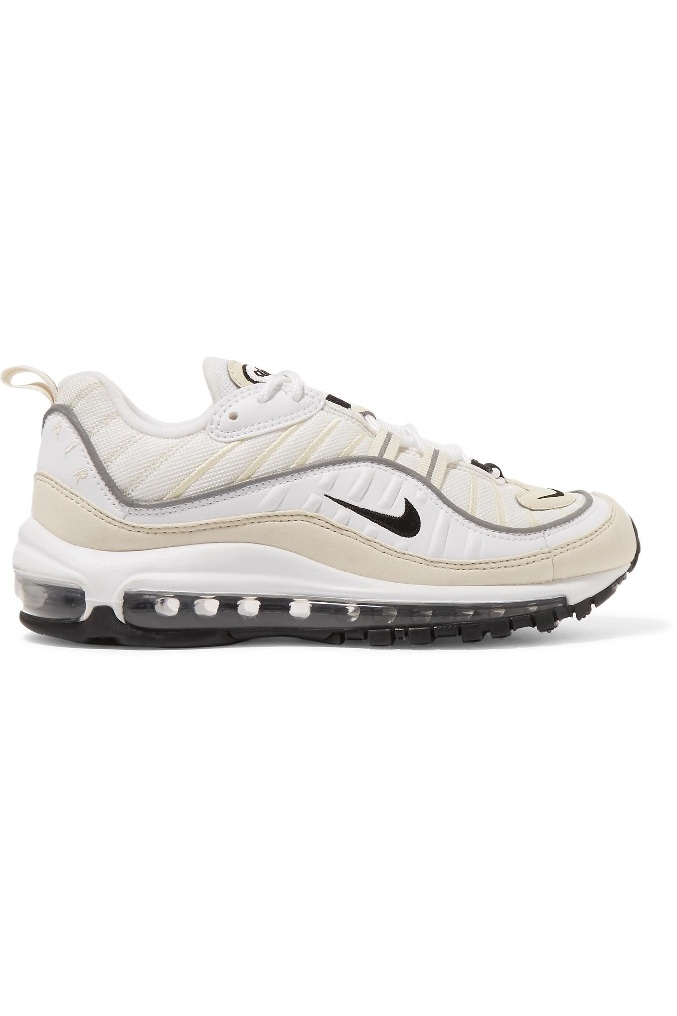 7a3962c82cb Lyst - Nike Air Max 98 Leather And Nubuck-trimmed Mesh Sneakers in White