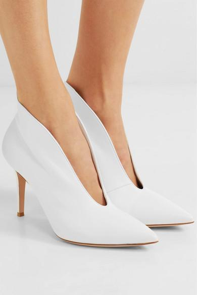 Gianvito Rossi Denim Vania 85 Leather Ankle Boots in White