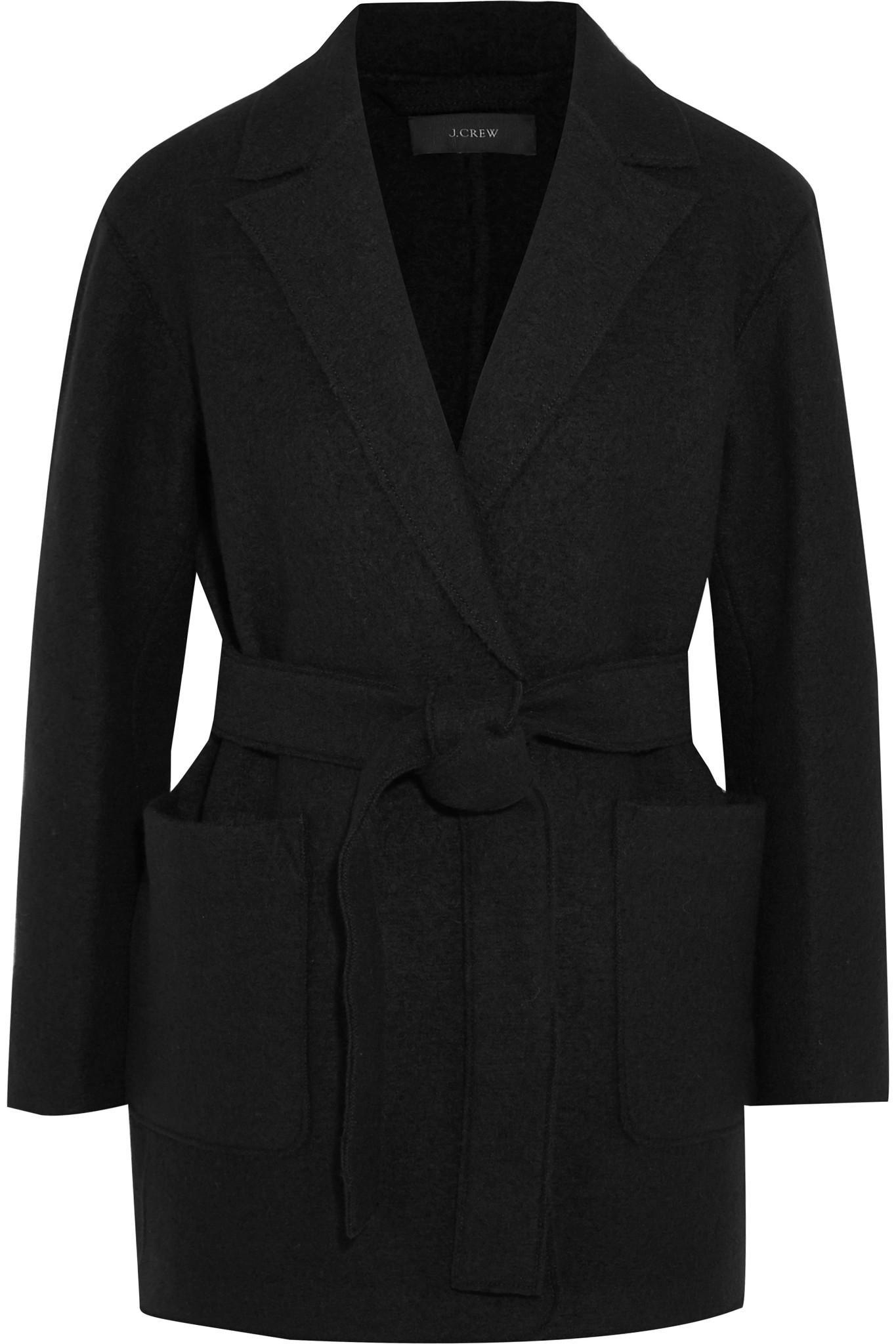 Lyst J Crew Sabrina Belted Boiled Wool Coat In Black