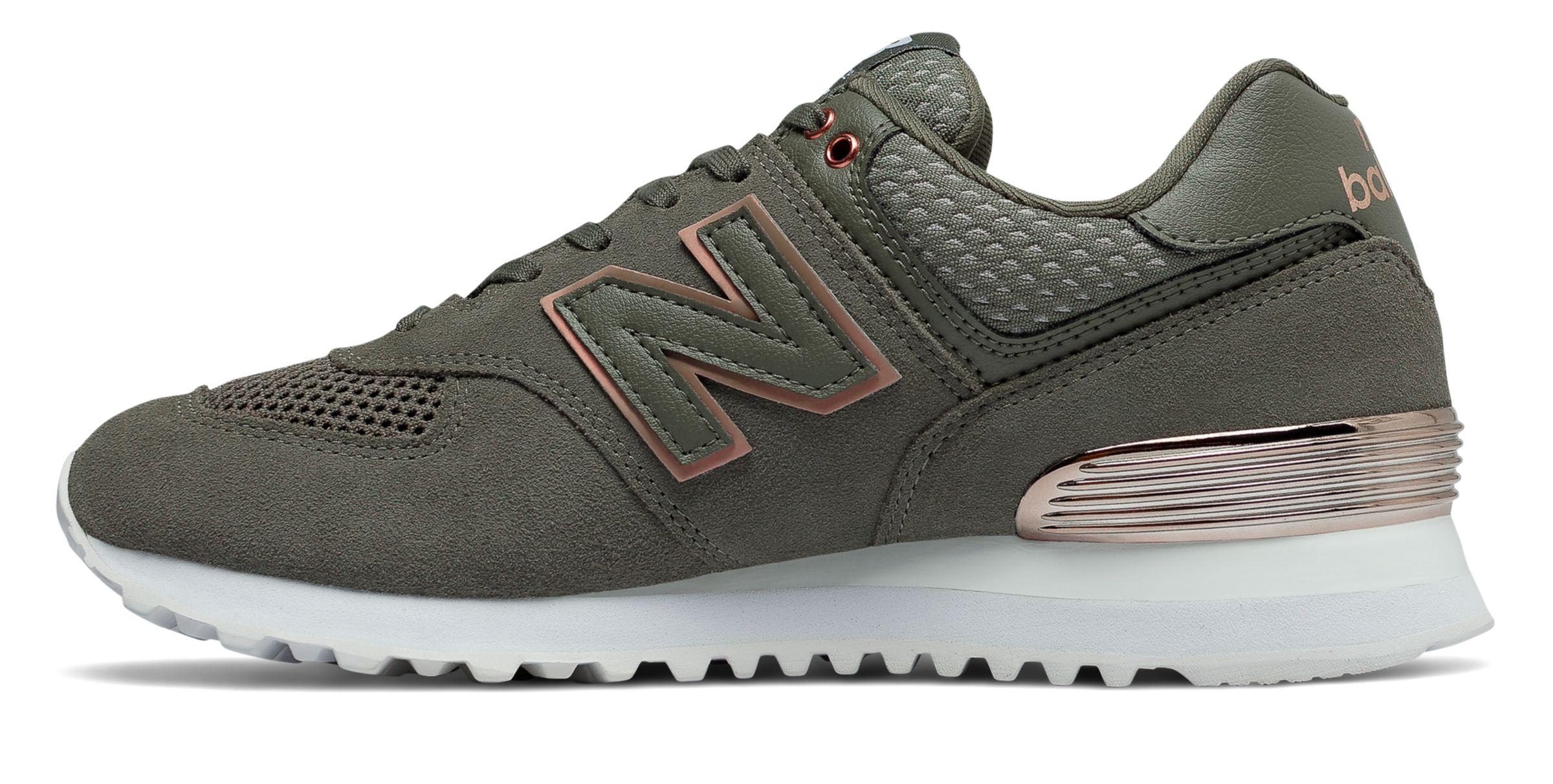 New Balance Green 574 All Day Rose