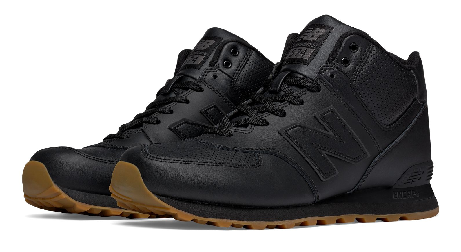 new balance 574 black leather