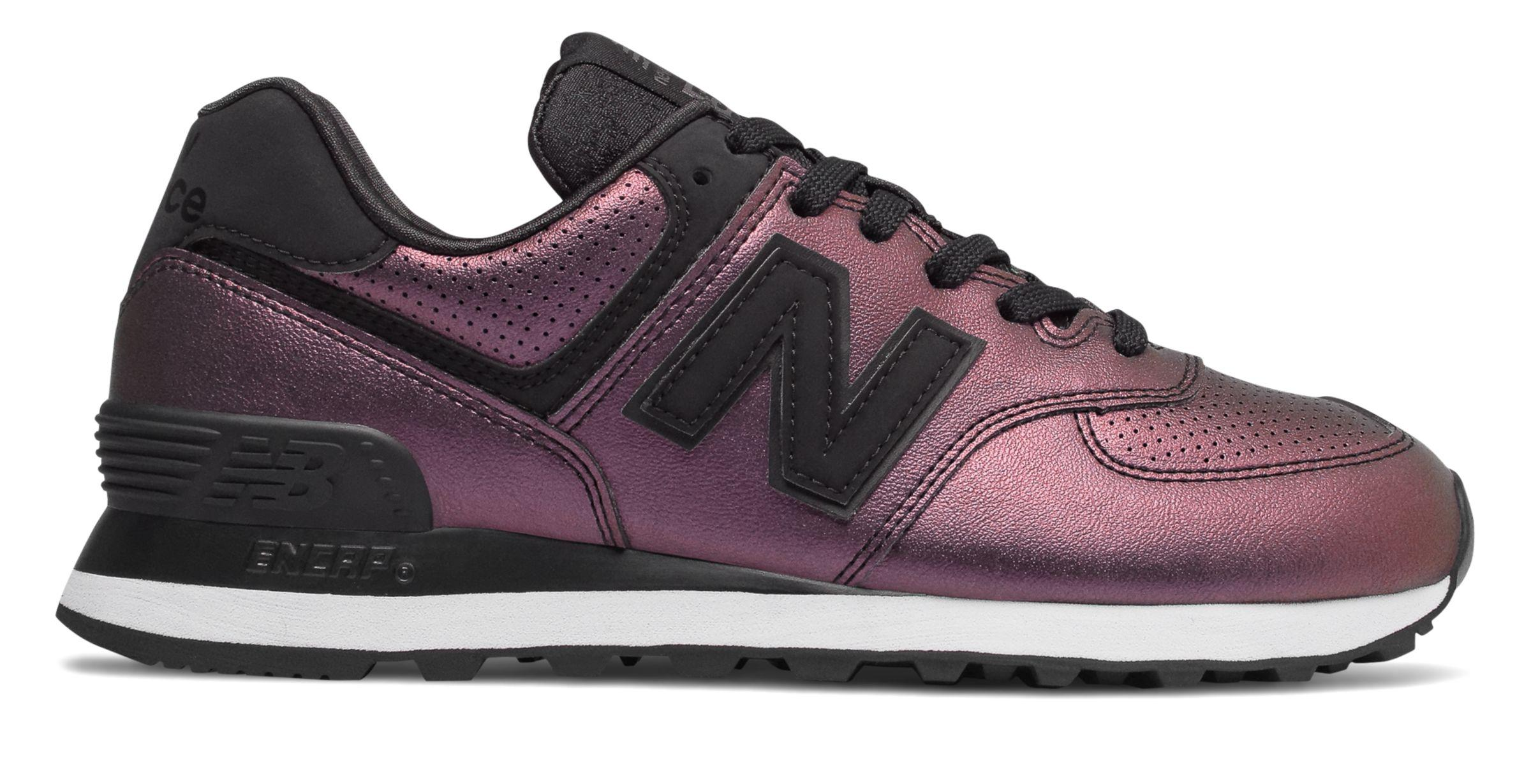 New Balance Leather 574 Sheen Pack in Black - Lyst