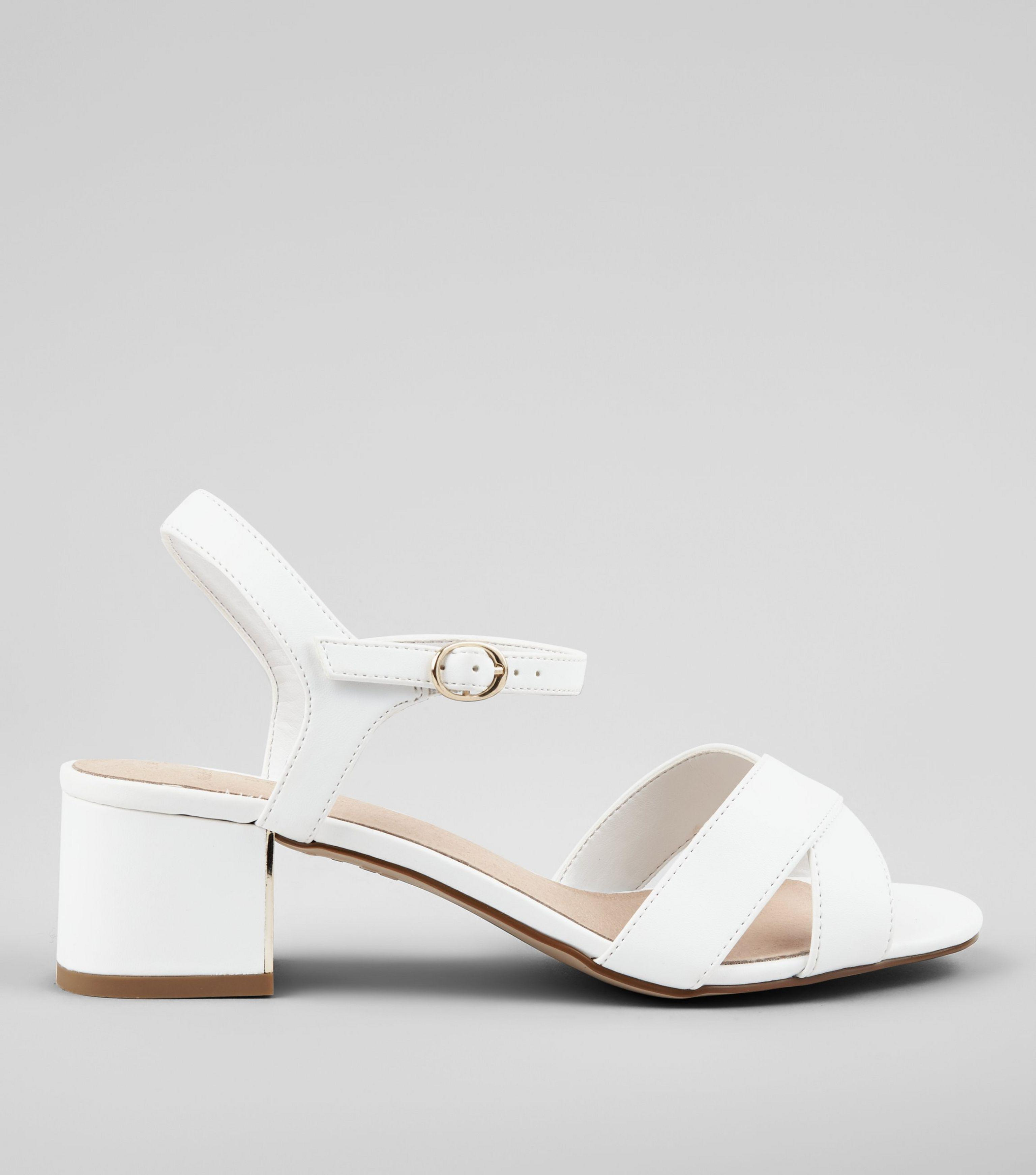 enjoy clearance price 2019 best sell the best Wide Fit White Comfort Cross Strap Block Heel Sandals