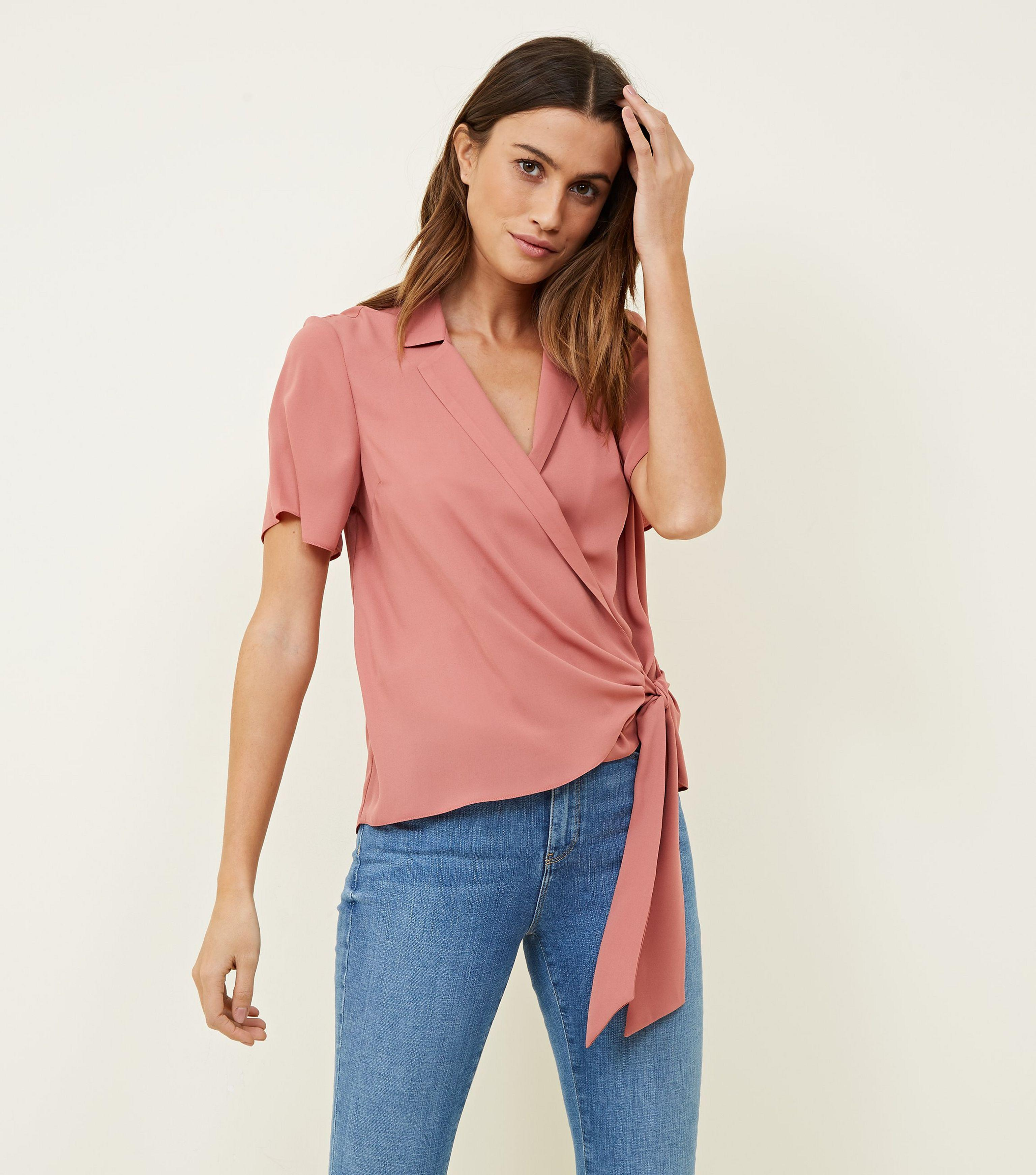 a7f38a591c386 New Look Mid Pink Wrap Front Revere Collar Blouse in Pink - Lyst
