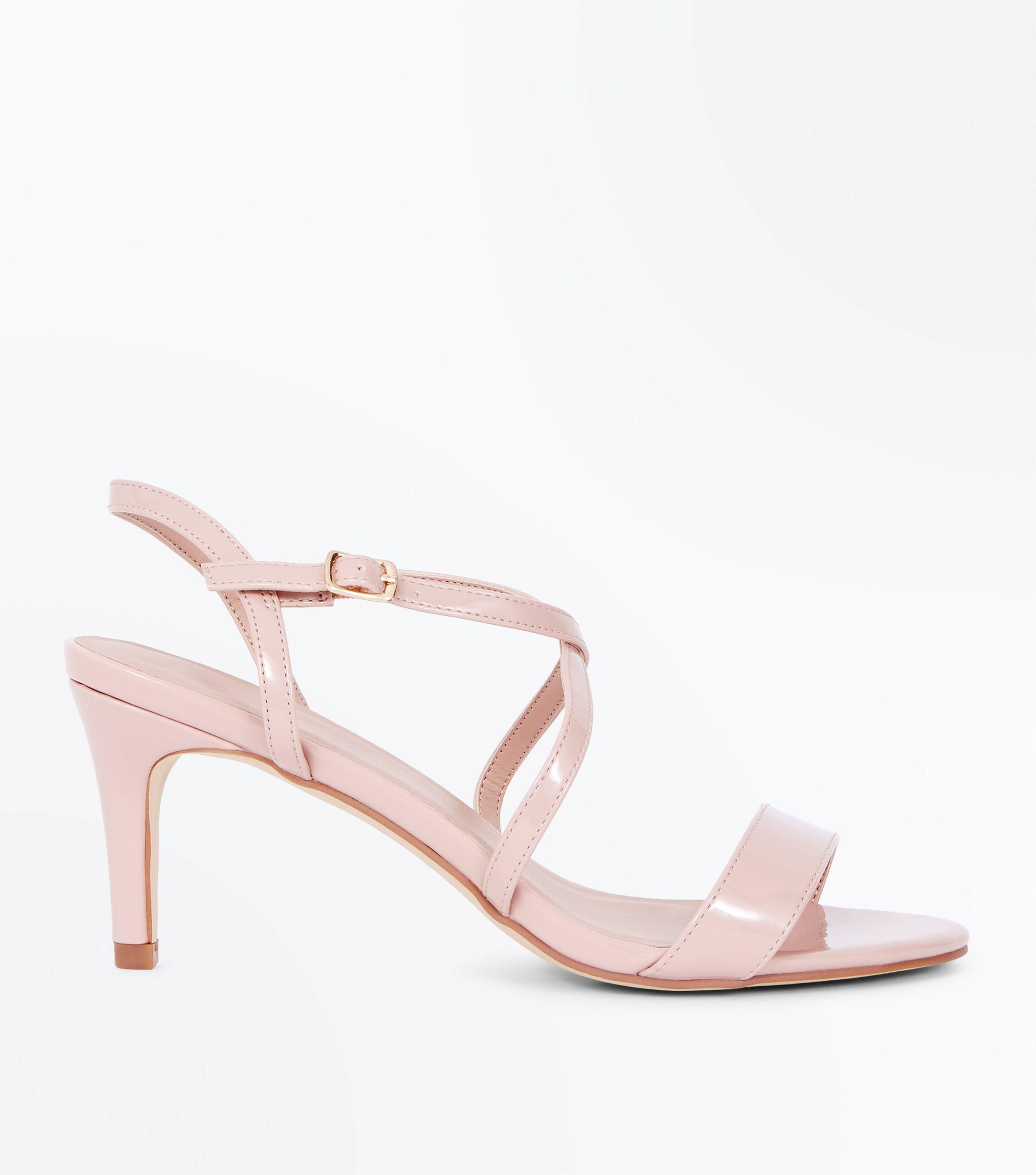 dcffd5f20d9 New Look Nude Patent Strappy Kitten Heel Sandals in Pink - Lyst