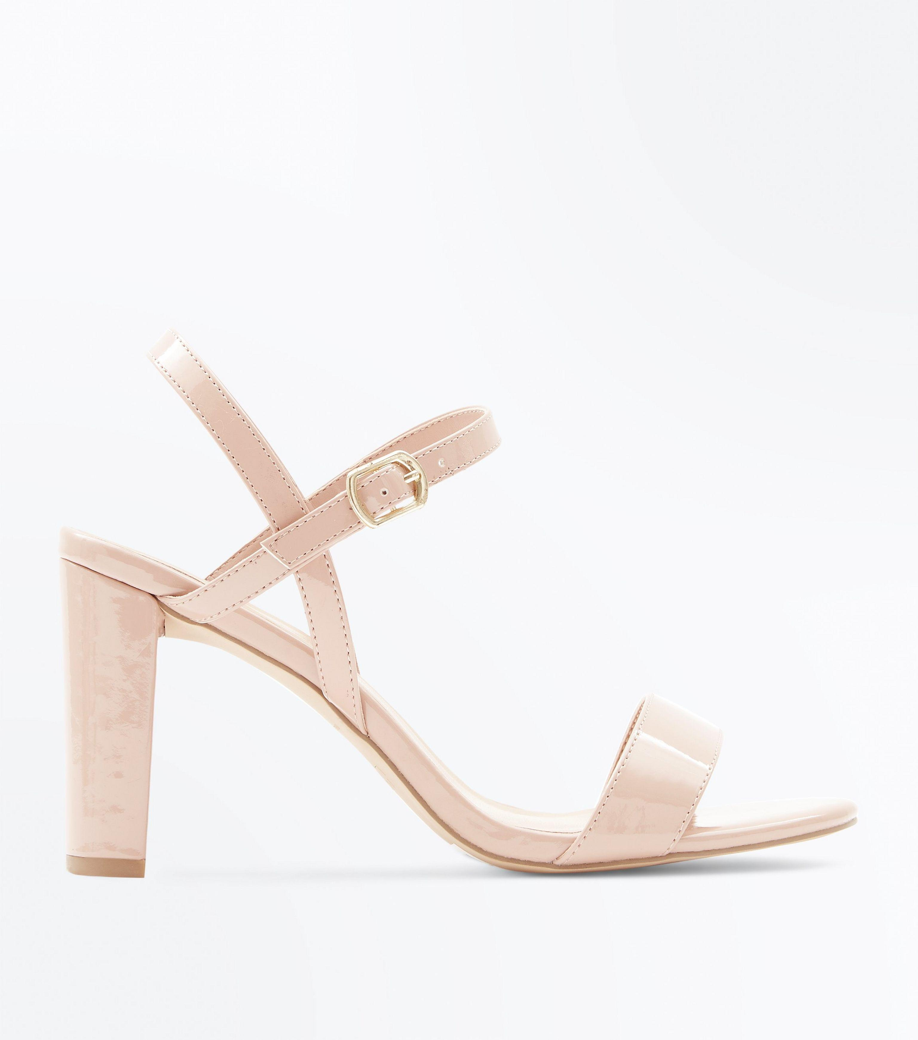 43ae78cd44a New Look Natural Wide Fit Nude Patent Block Heel Sandals
