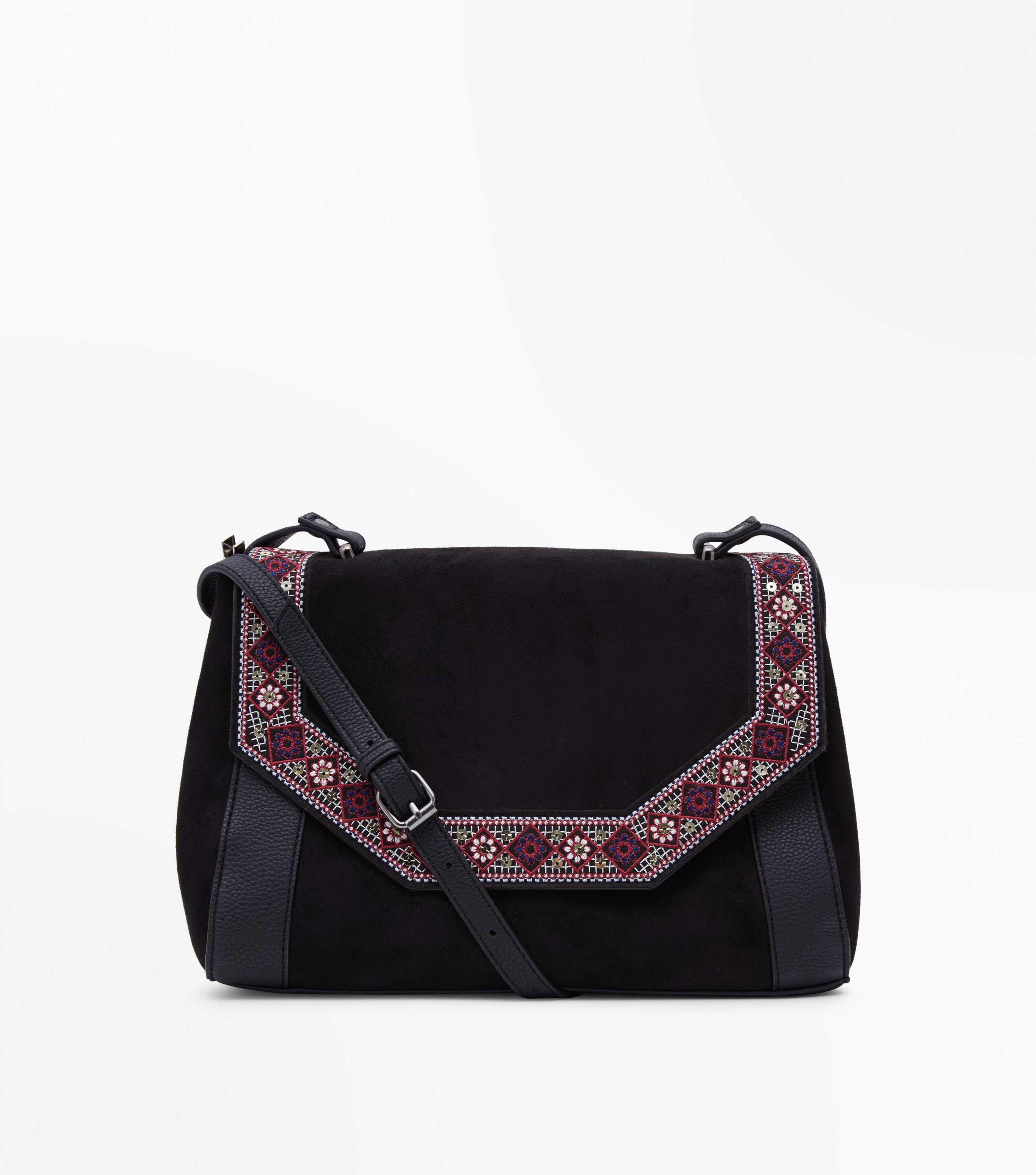 outlet store good reputation multiple colors New Look Leather Black Geometric Embroidered Cross Body Bag ...