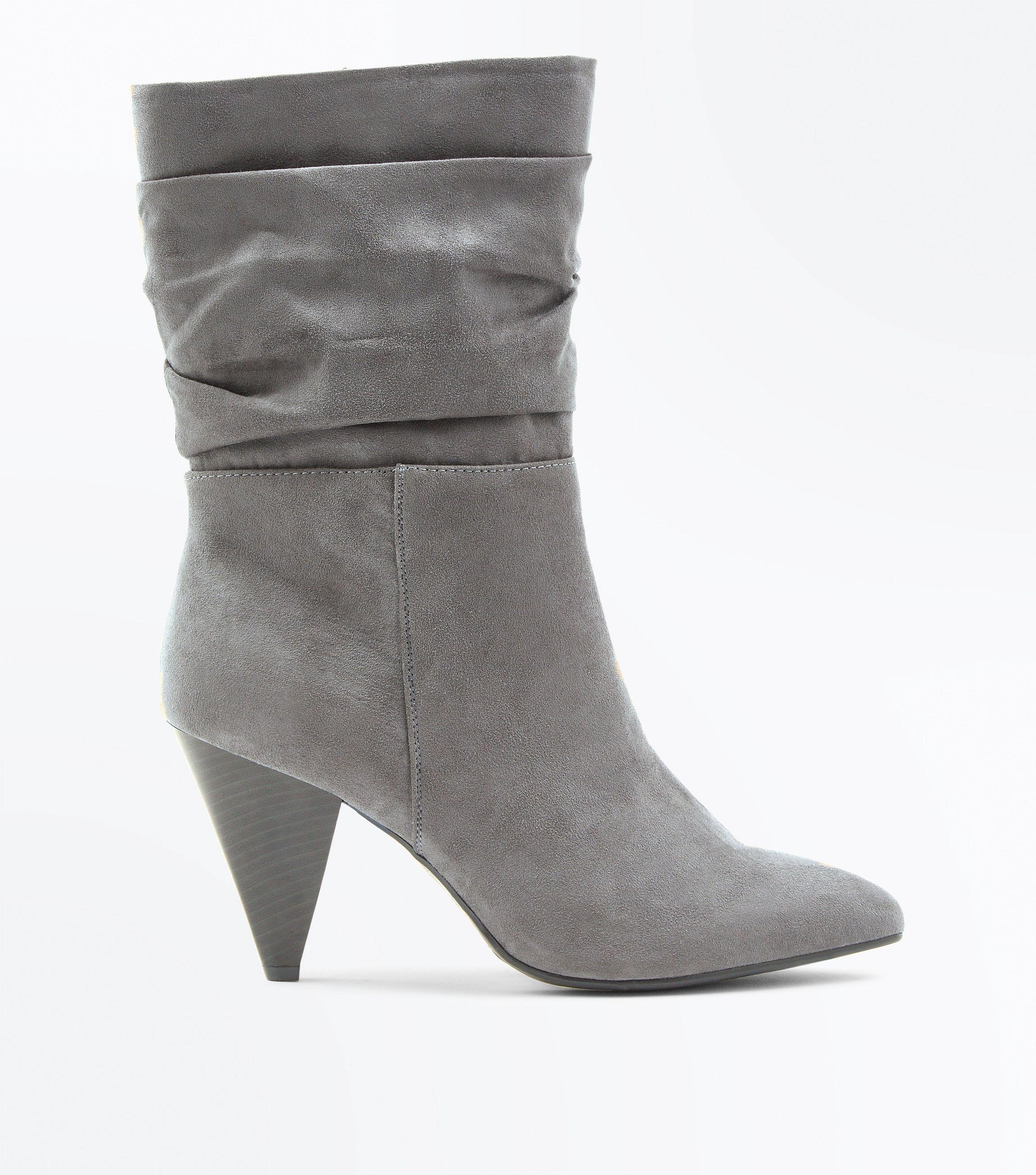 a3dbc716a89 New Look Gray Wide Fit Grey Suedette Cone Heel Calf Boots