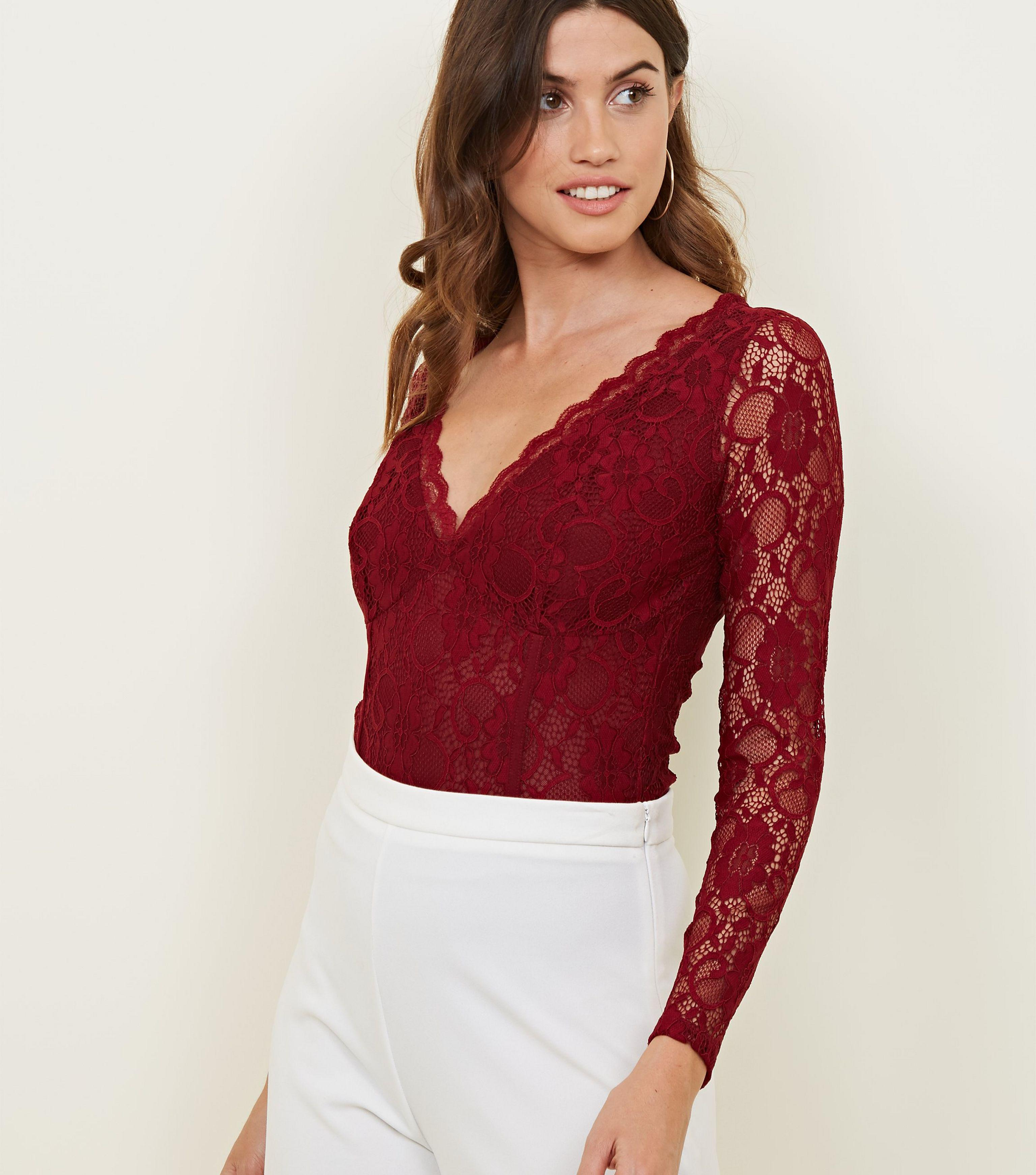 7fe0304b95a4 New Look Burgundy Lace Long Sleeve Bodysuit in Red - Lyst