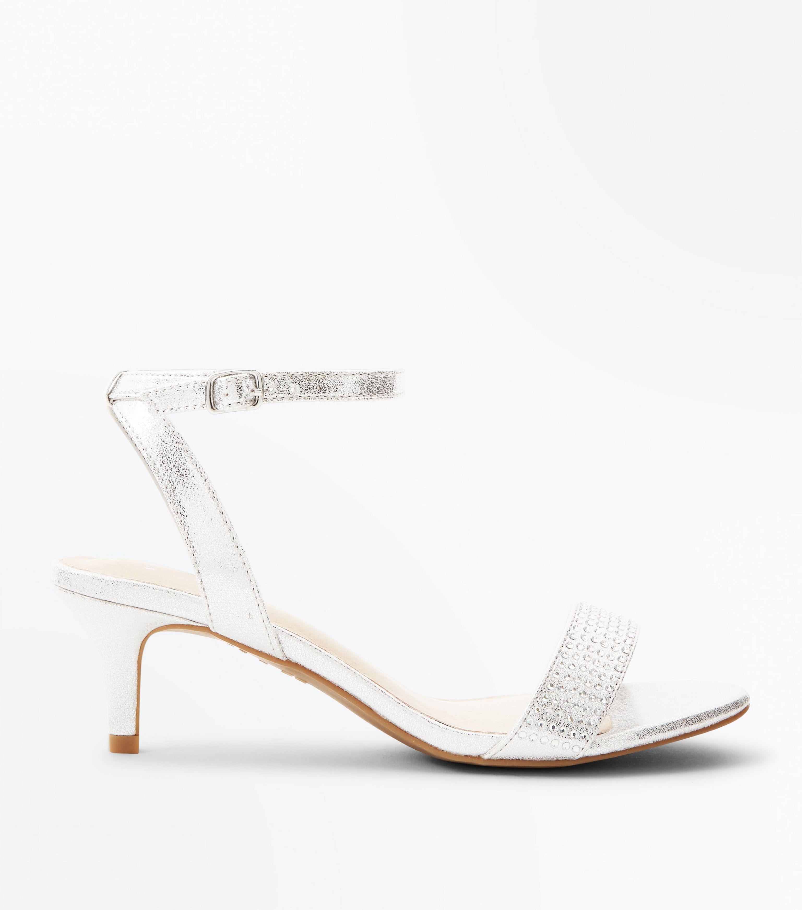 c4a95131a36 New Look Wide Fit Silver Comfort Flex Diamanté Strap Kitten Heels in ...