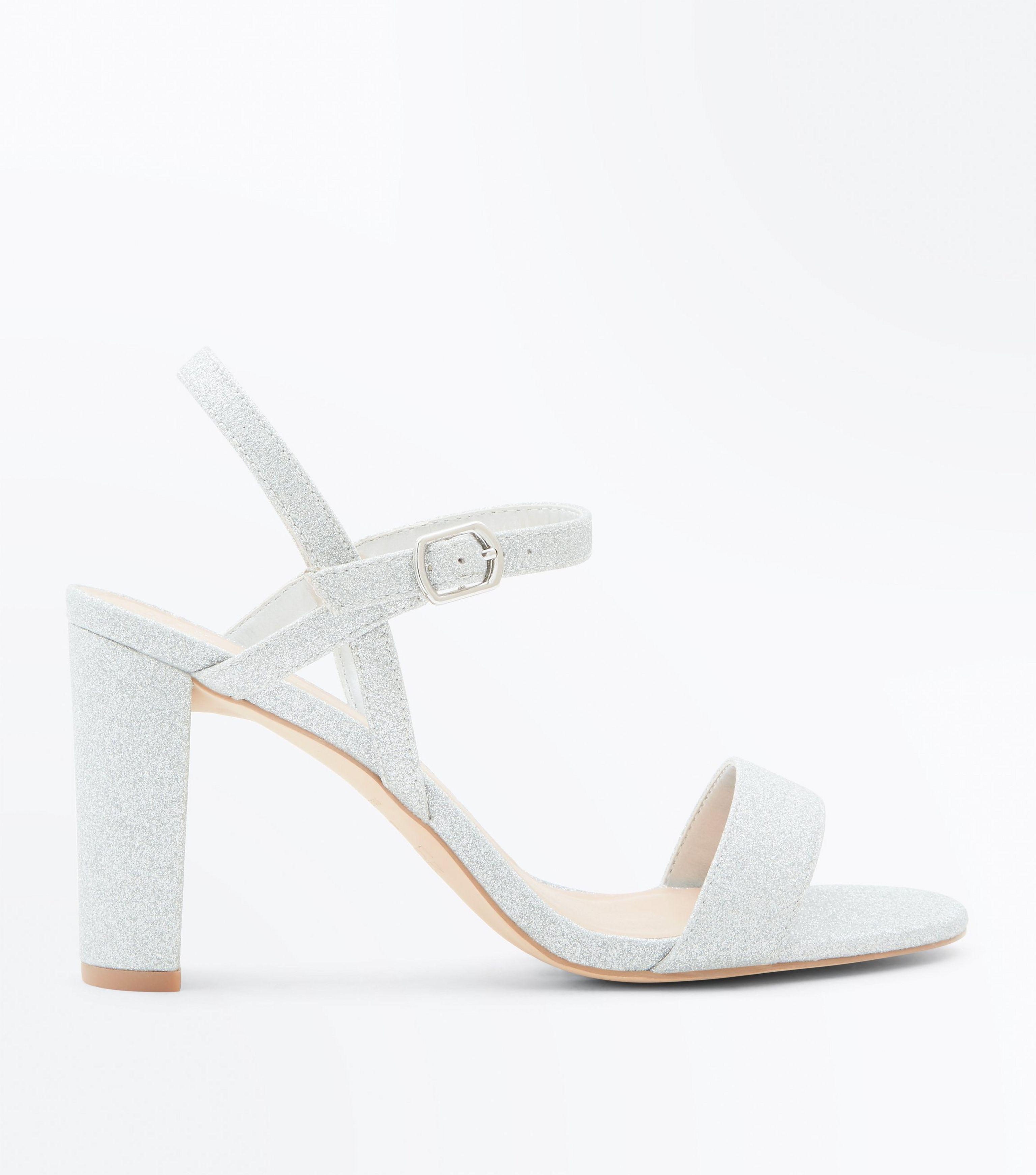 wide fit sølv block hæle sandaler