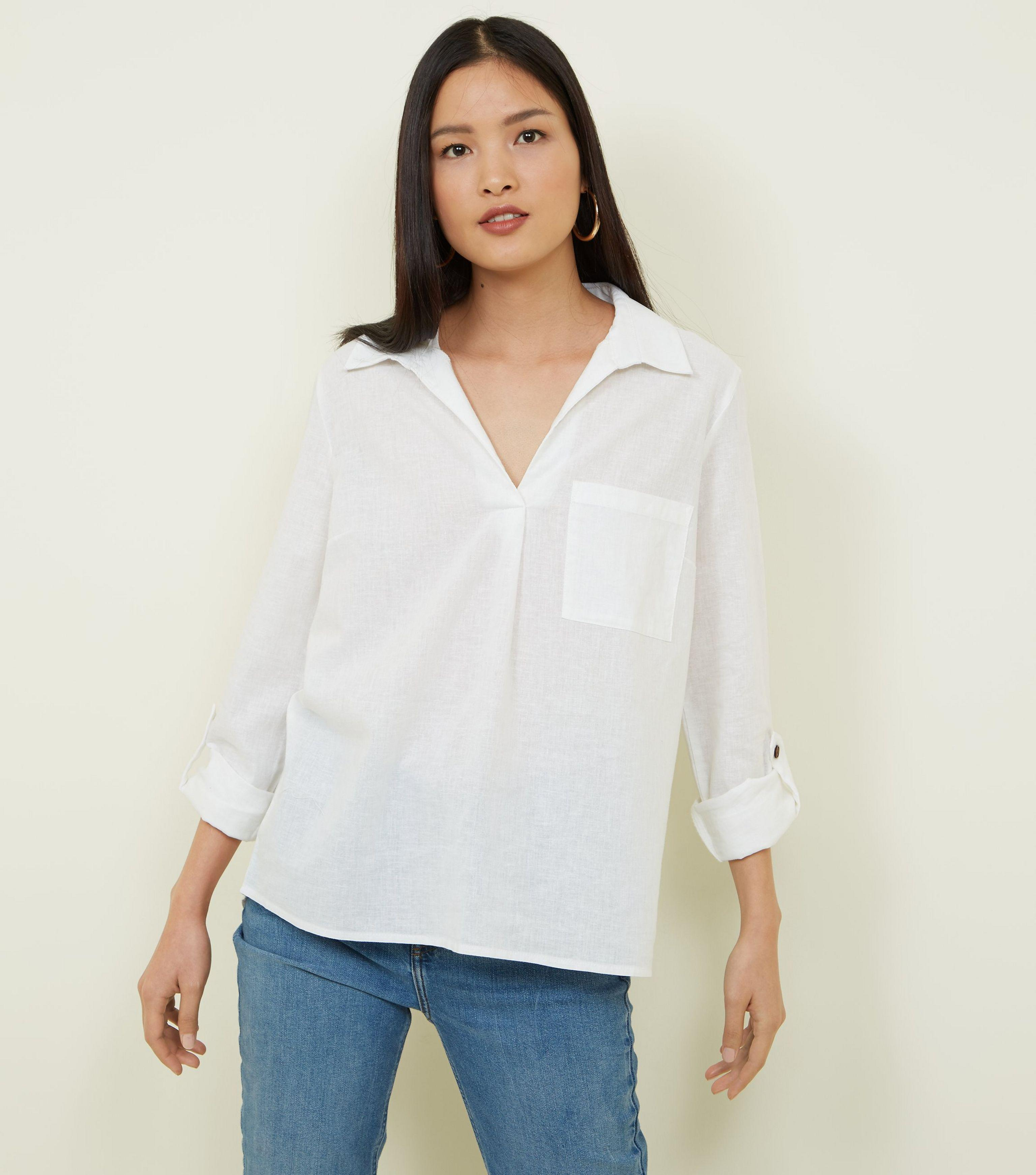54852881 Tap to visit site. New Look - White Linen Blend Overhead Shirt - Lyst