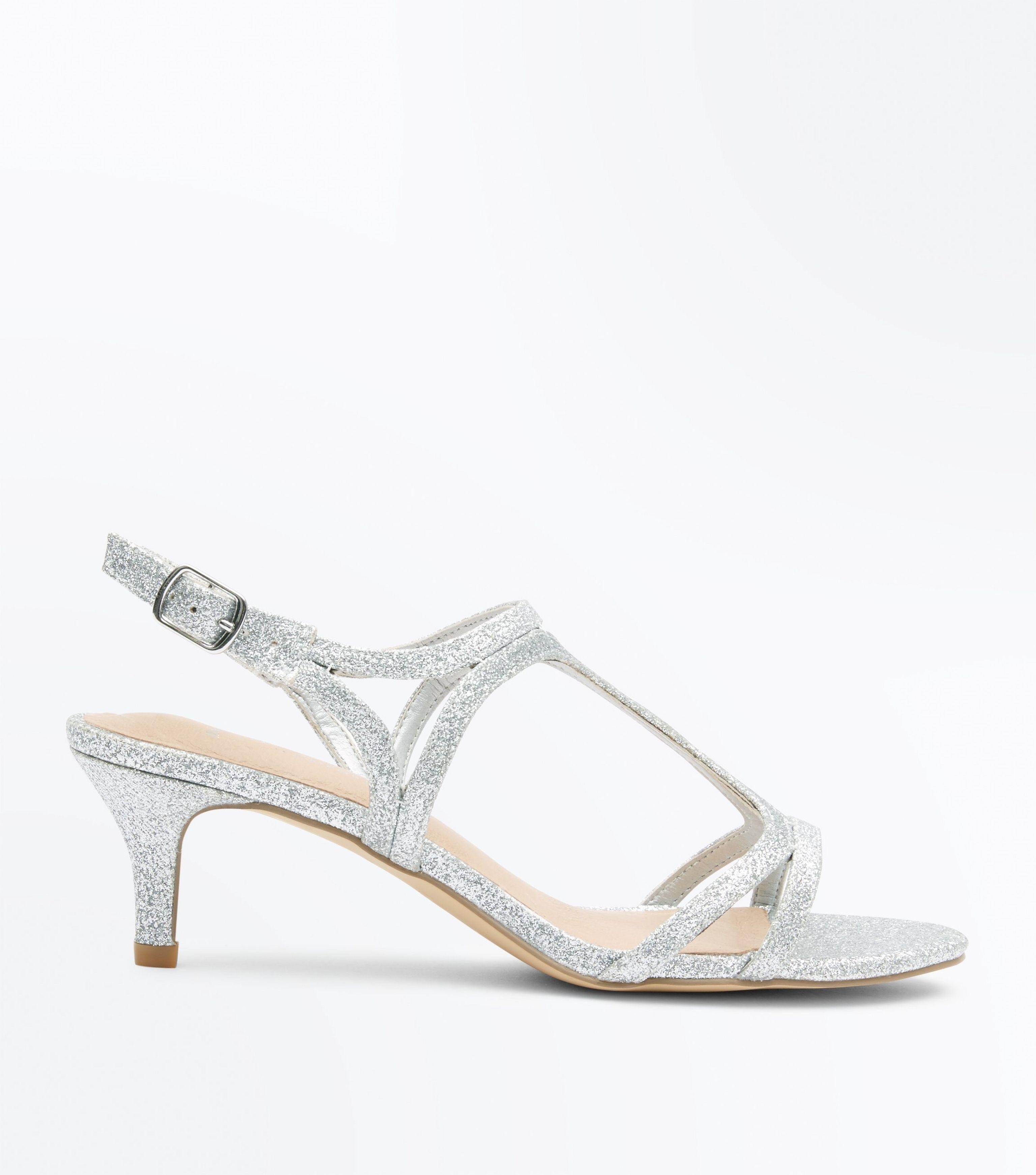 5613fee454e9f New Look Wide Fit Silver Glitter Comfort Kitten Heel Sandals in ...