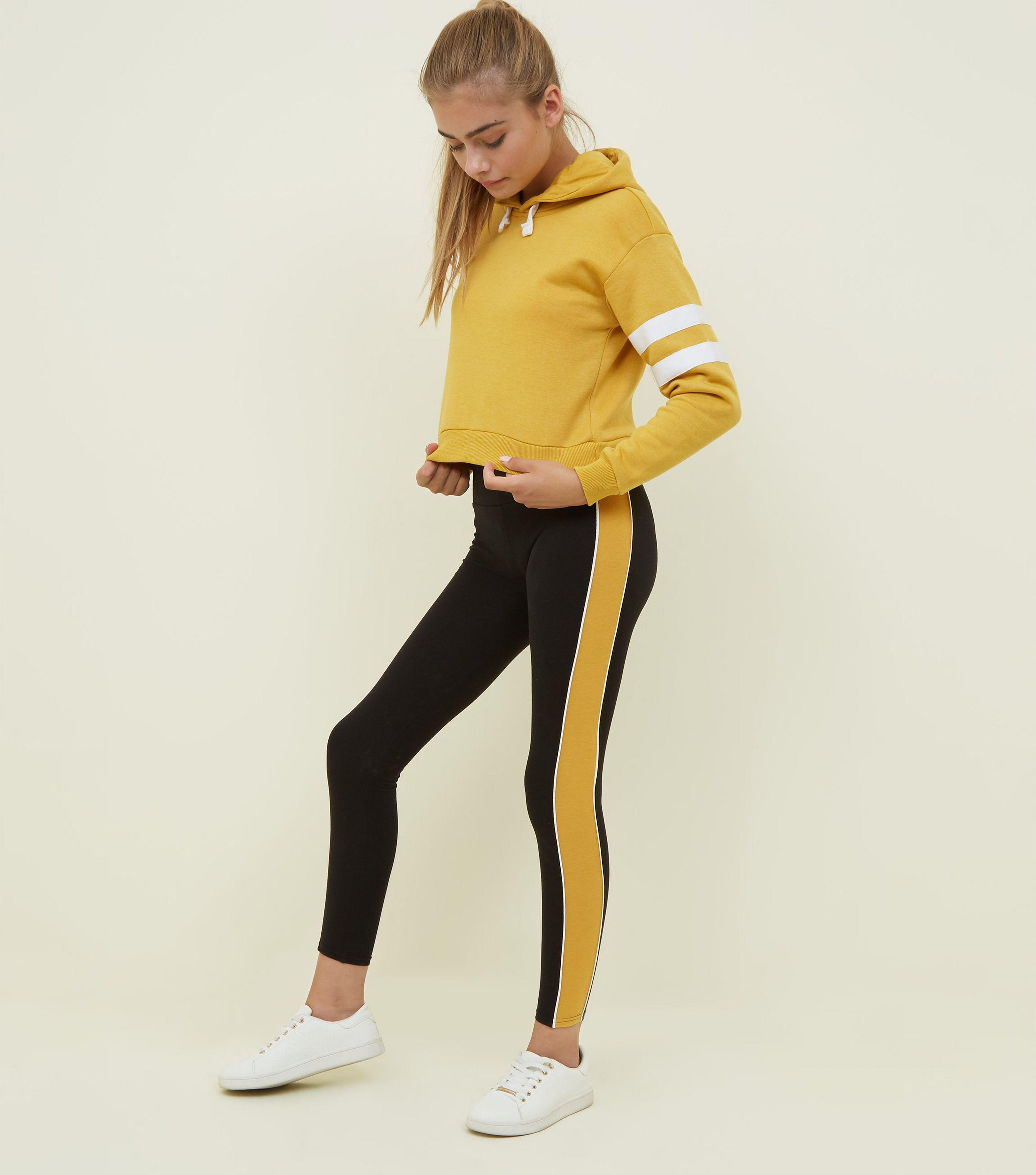 eab6feca865e New Look Girls Mustard And Black Side Stripe Leggings in Yellow - Lyst