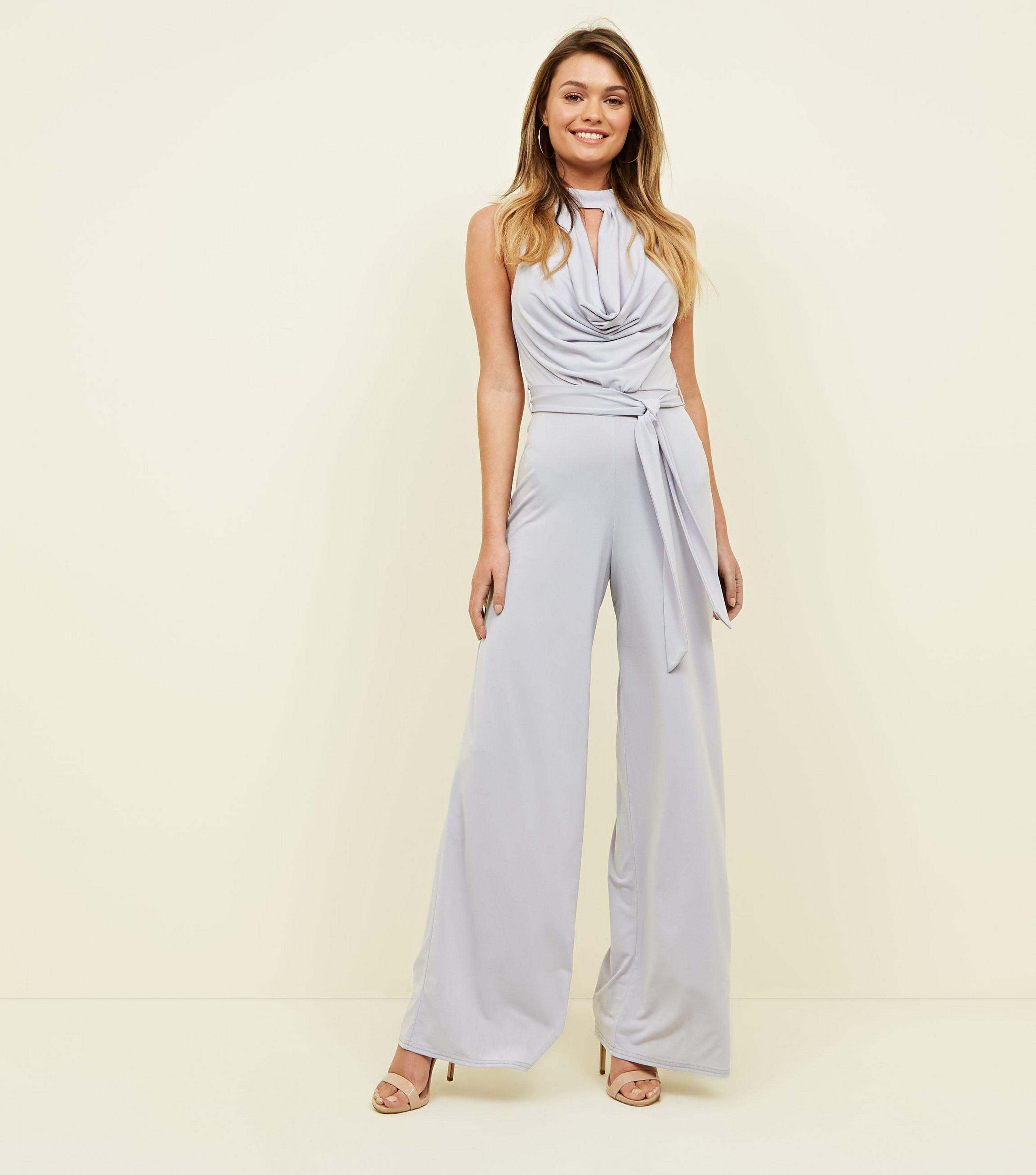 6c64eb89d42c New Look Silver Cowl Neck Jumpsuit in Metallic - Lyst