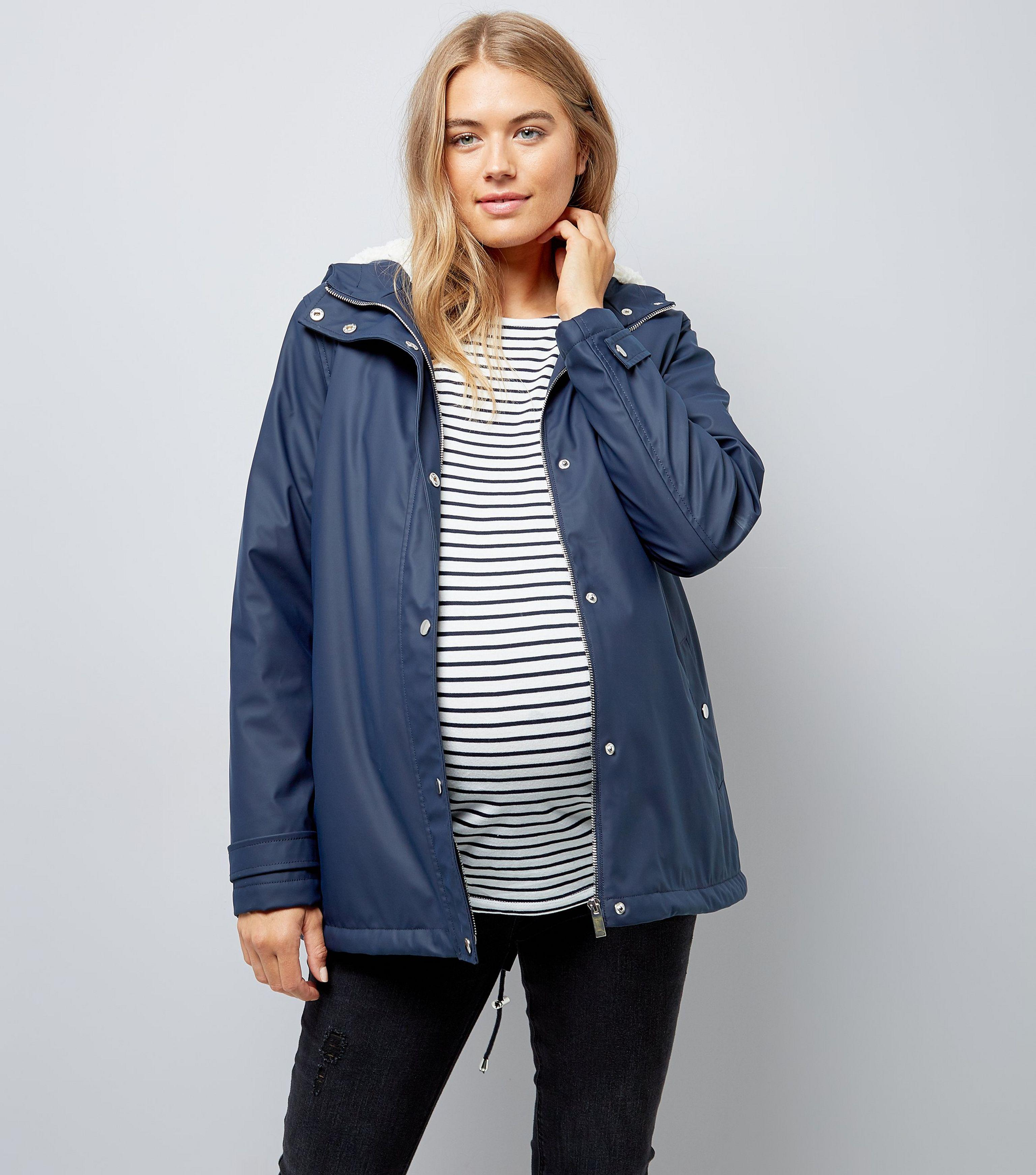b625819b583 New Look Maternity Navy Borg Lined Anorak in Blue - Lyst