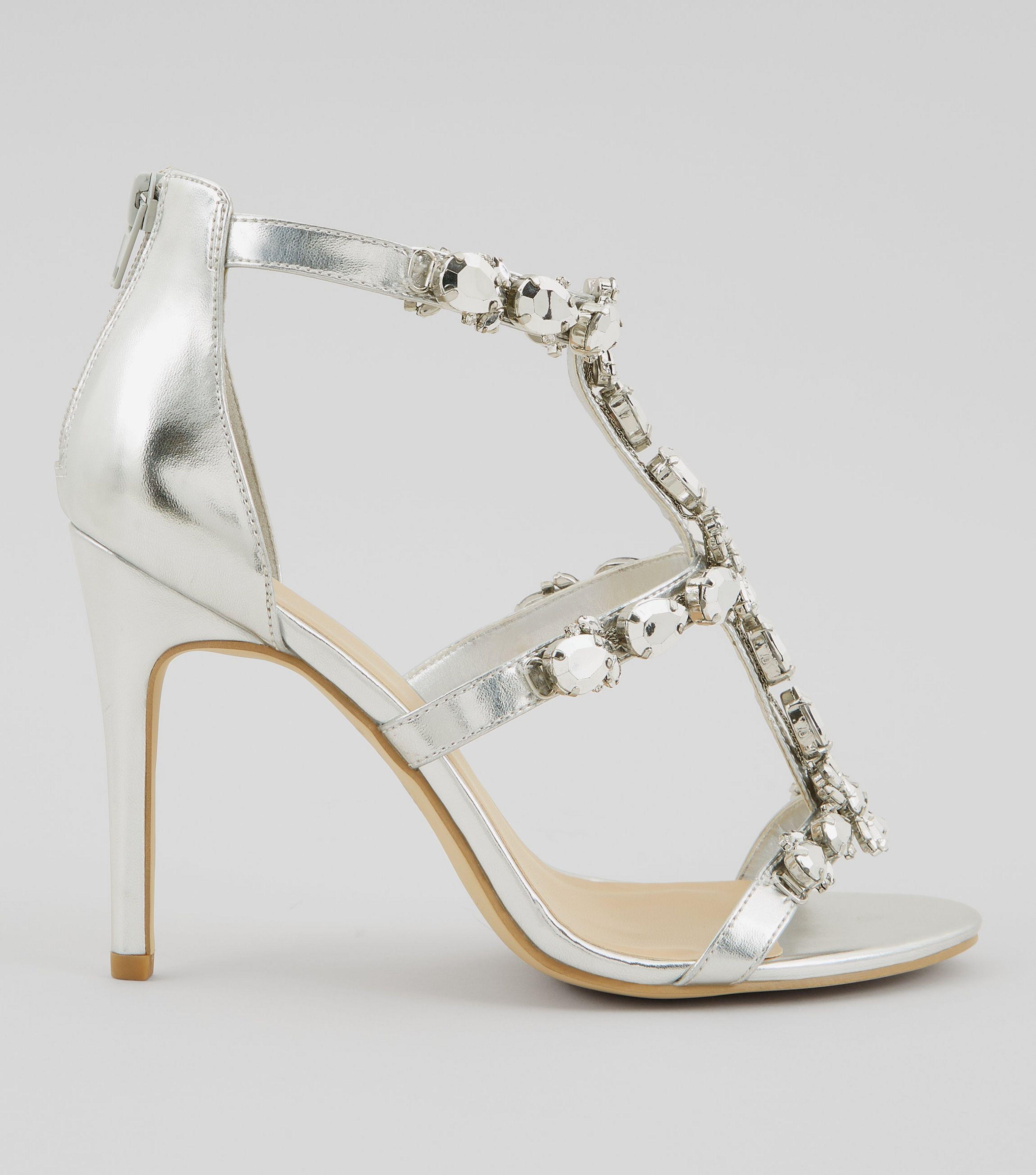 0ce515283bb New Look Metallic Silver Chunky Crystal Embellished T Bar Heels