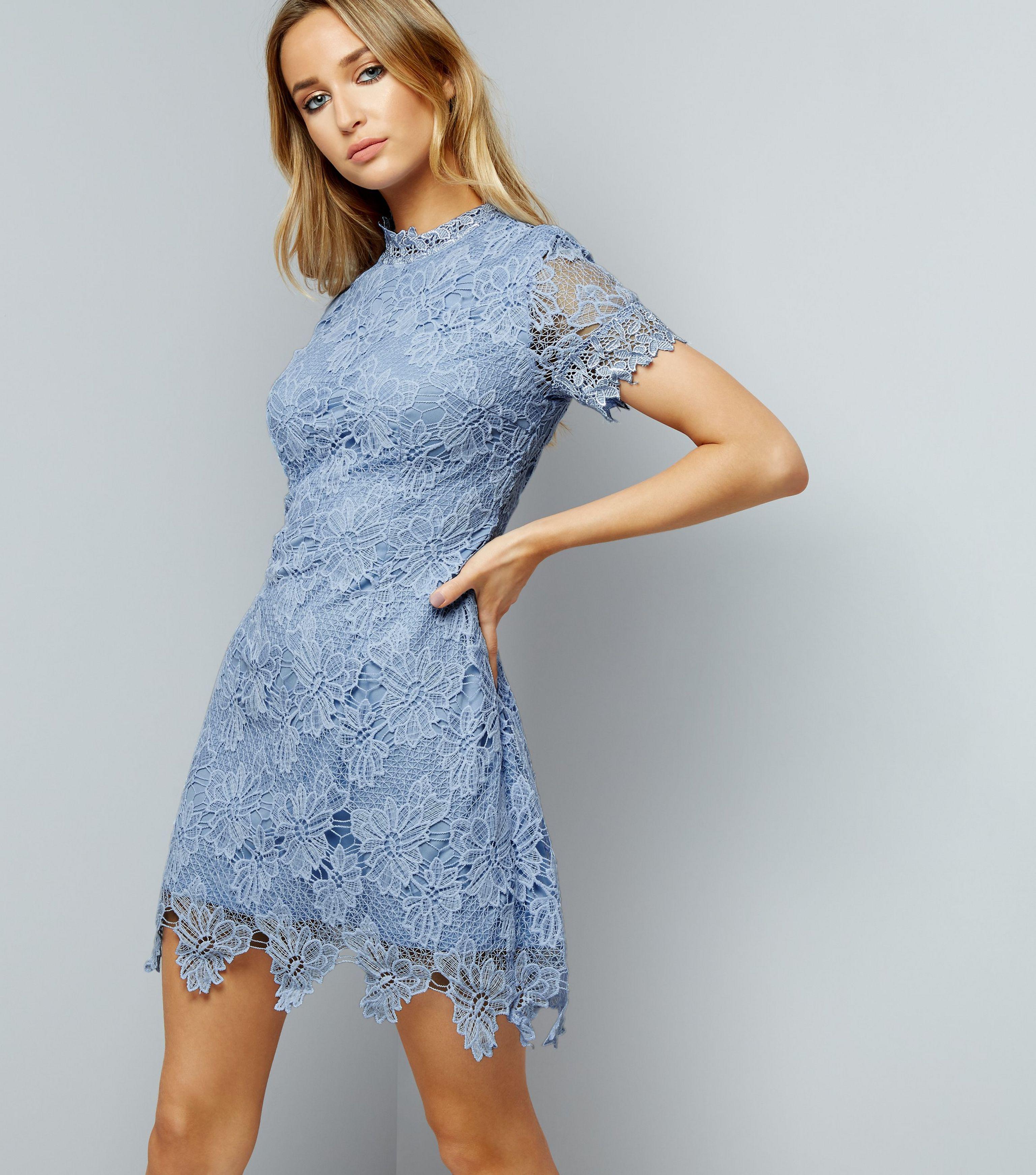 Pale Blue Lace High Neck Dress