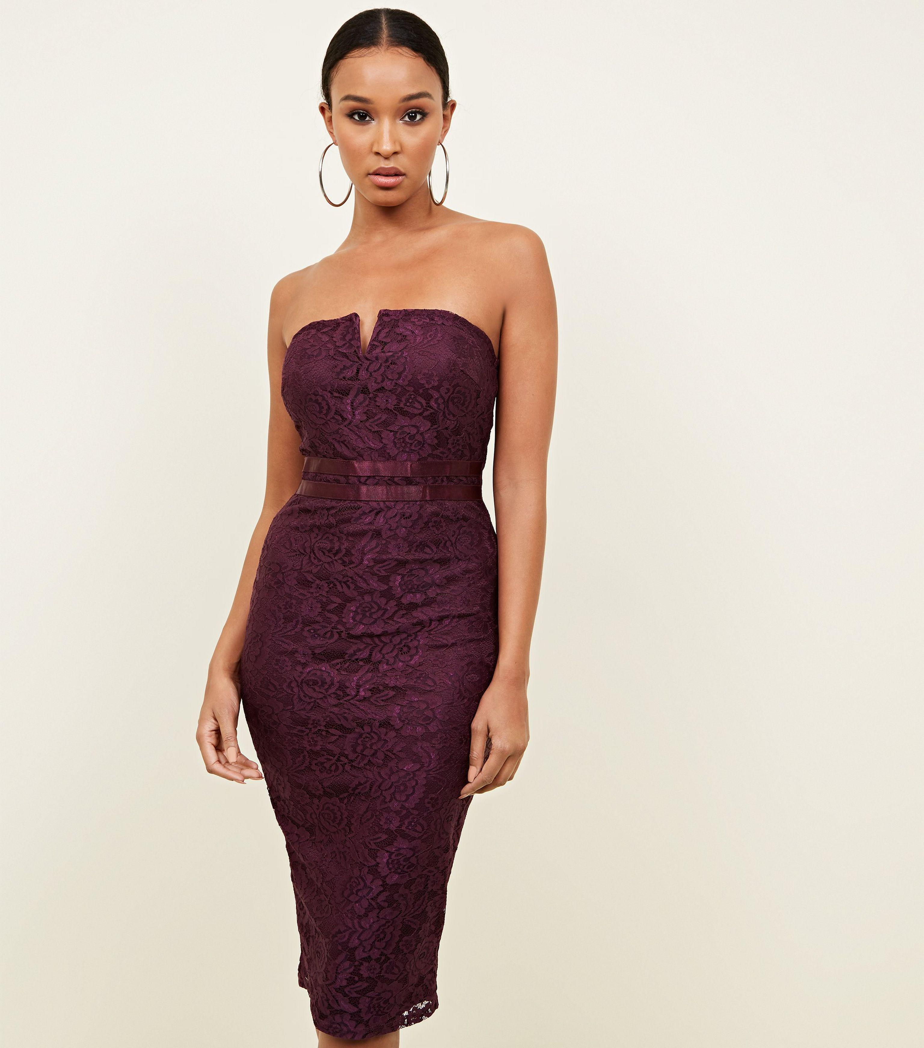ab186878ef6e AX Paris. Women's Purple Burgundy Lace Strapless Bodycon Dress. £35 From New  Look