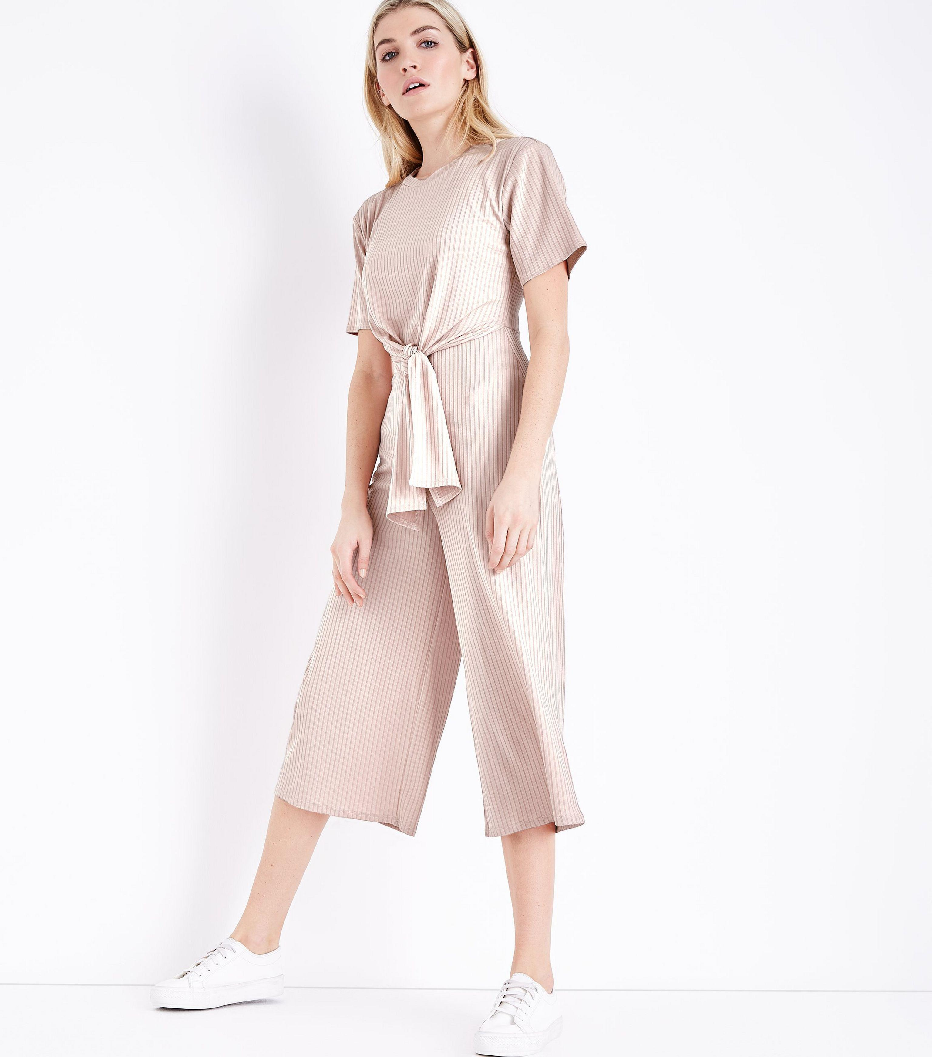 c0aadb6de7 New Look Pale Pink Ribbed Tie Front Jumpsuit in Pink - Lyst