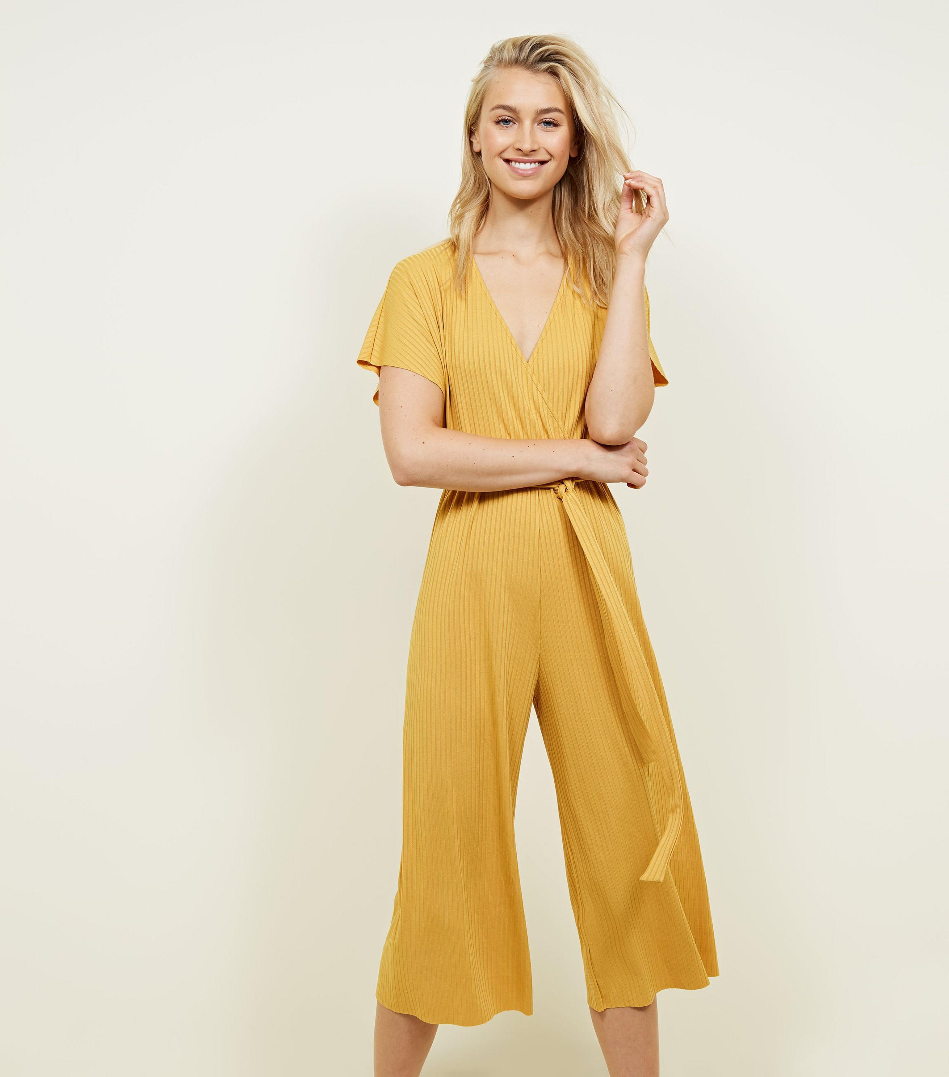 bf27f44bff New Look Mustard Ribbed Wrap Front Culotte Jumpsuit in Yellow - Lyst
