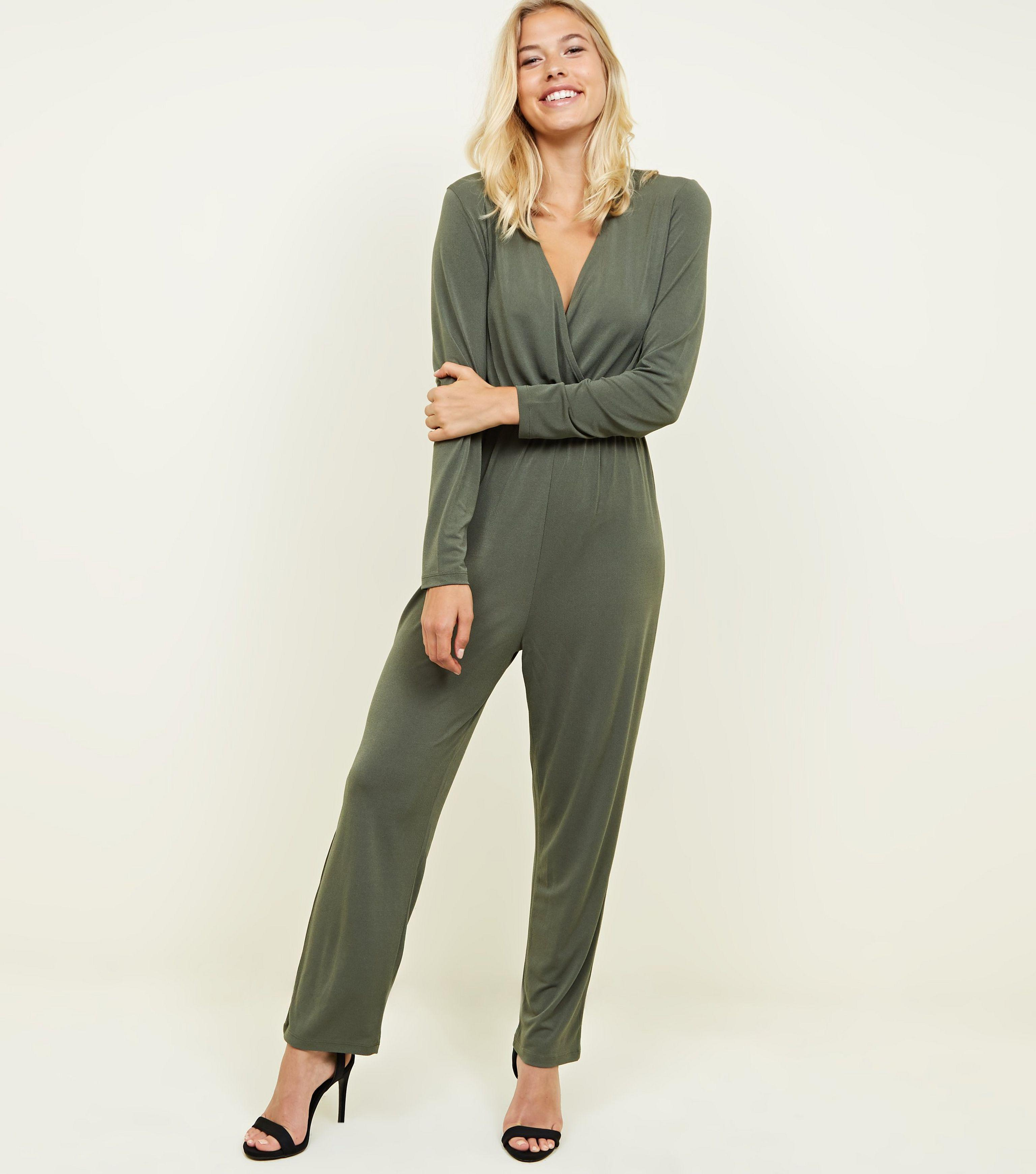 29133ec31e5 New Look Khaki Crepe Jersey Wrap Front Long Sleeve Jumpsuit in ...