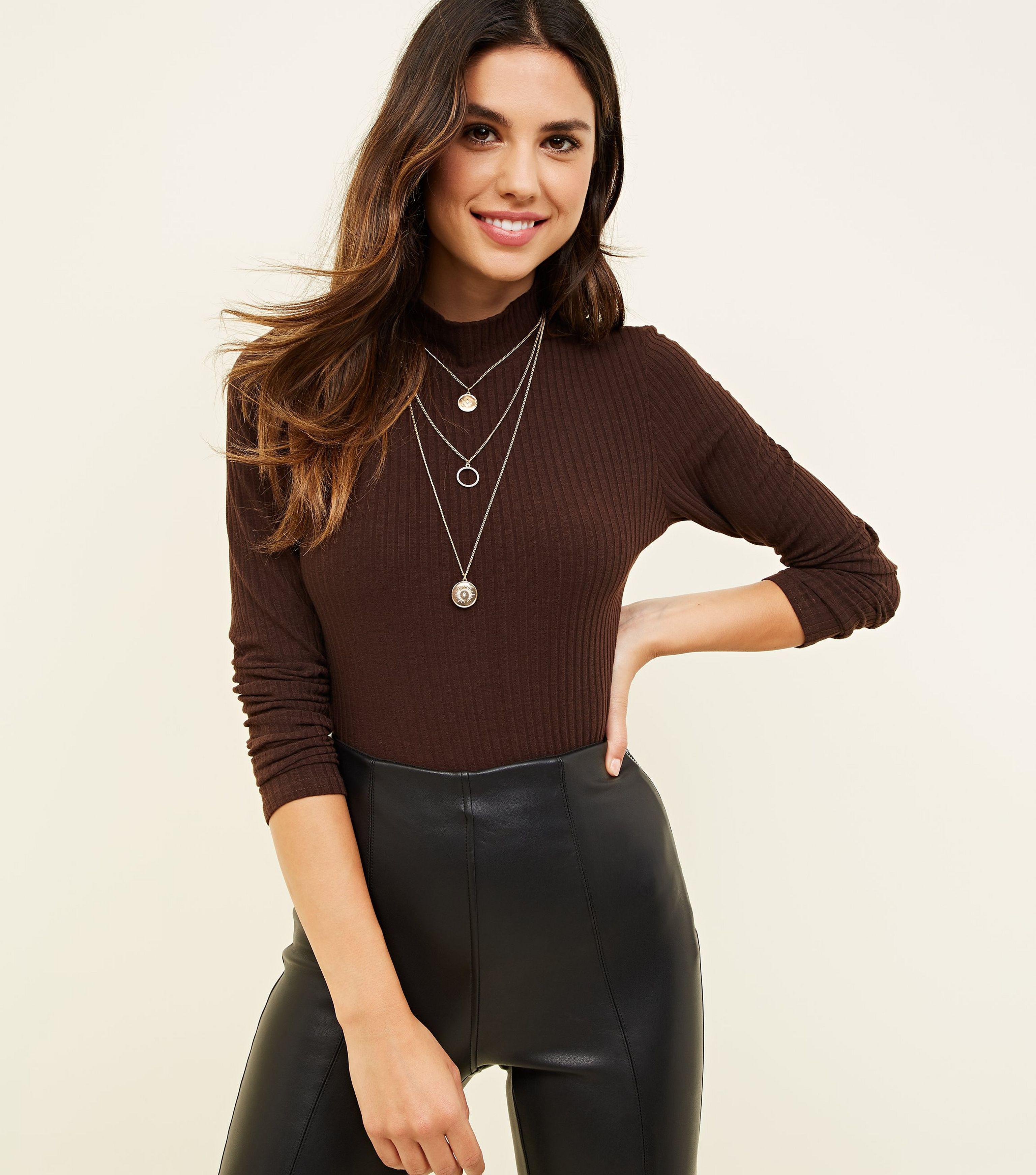 New Look Dark Brown Ribbed Funnel Neck Bodysuit in Brown - Lyst fee5dd398785
