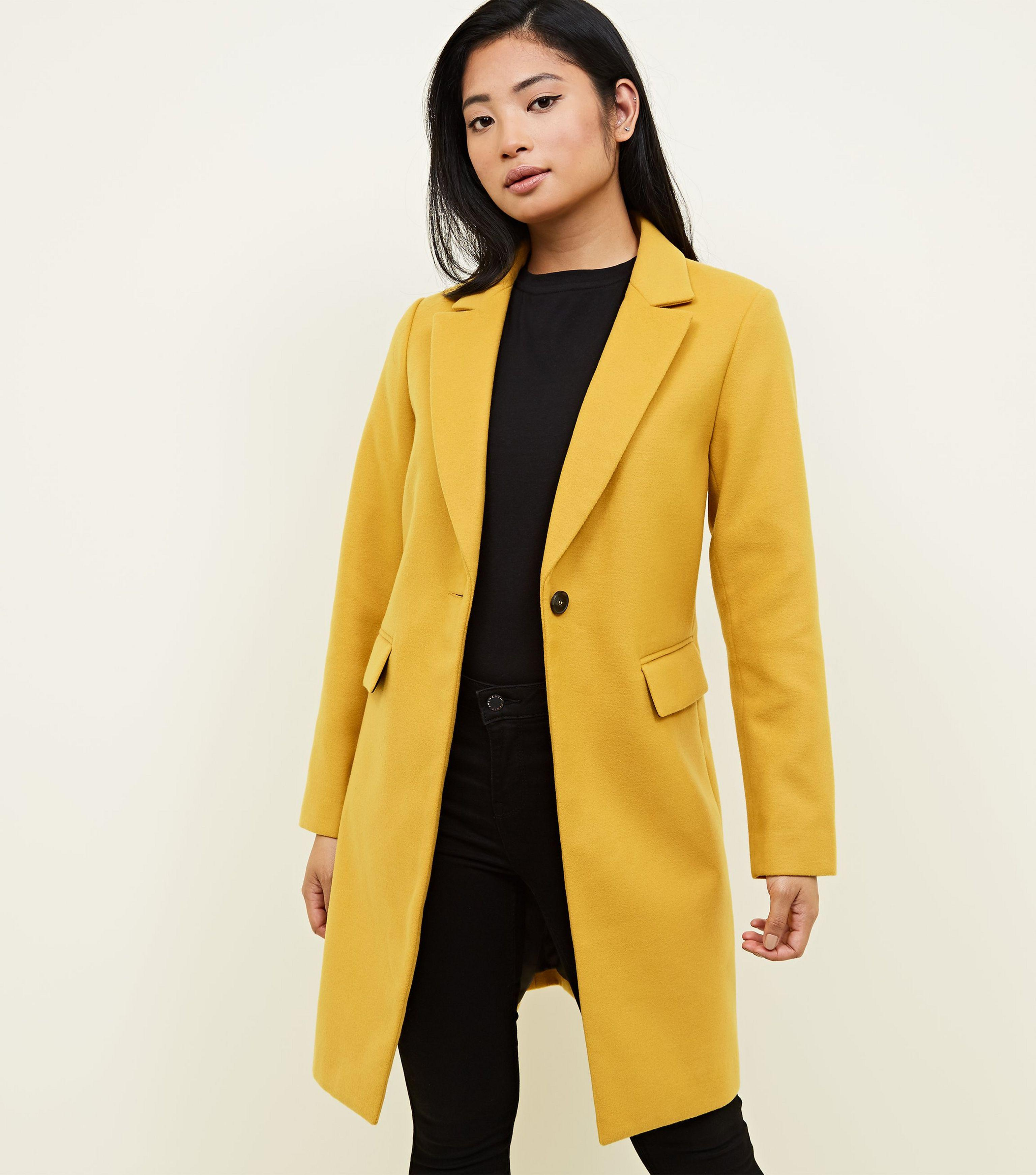 ad80ae73b129 New Look Petite Mustard Revere Collar Longline Coat in Yellow - Lyst