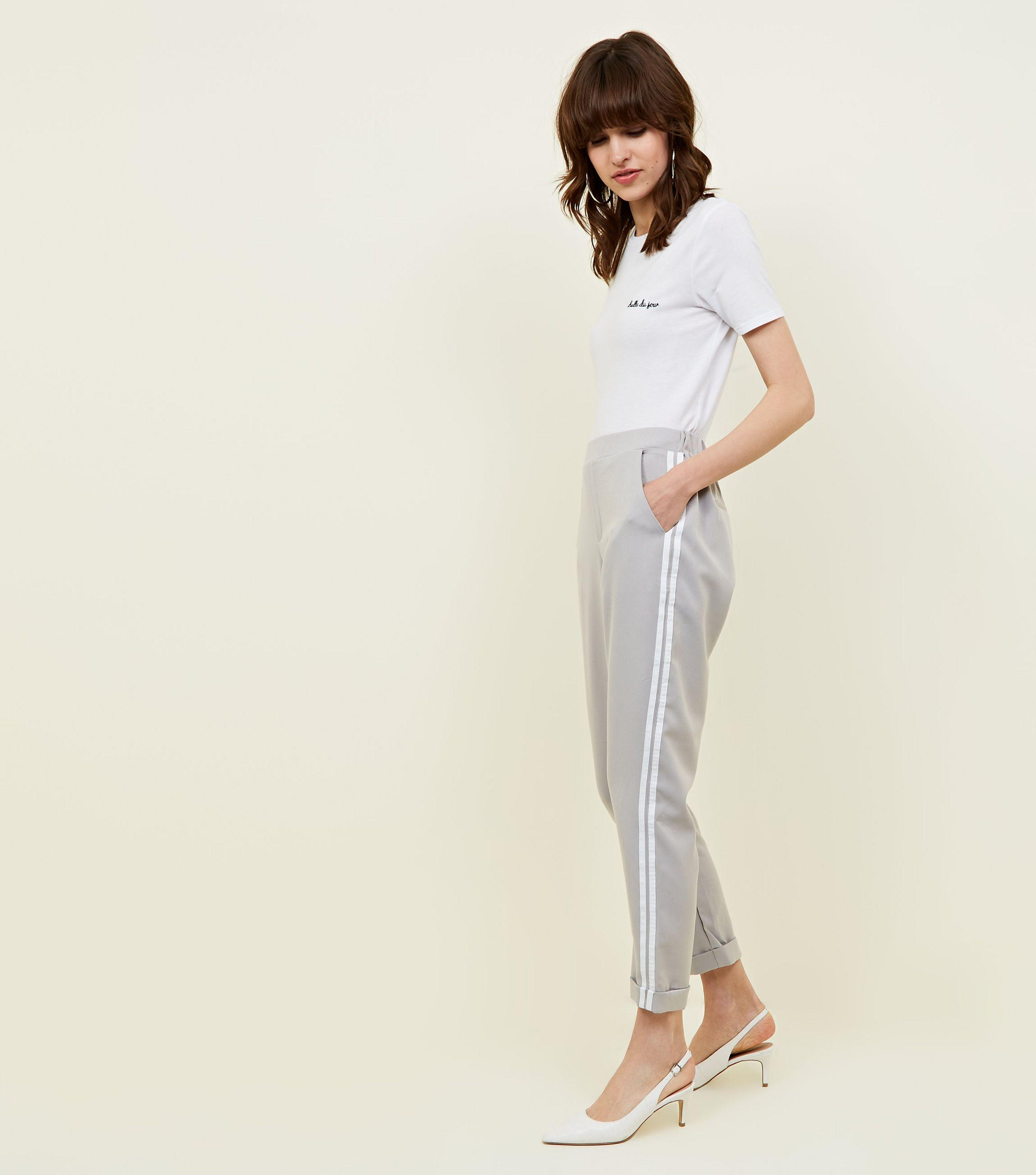 b5c510567d6d47 New Look Grey Double Side Stripe Tapered Trousers in Gray - Lyst