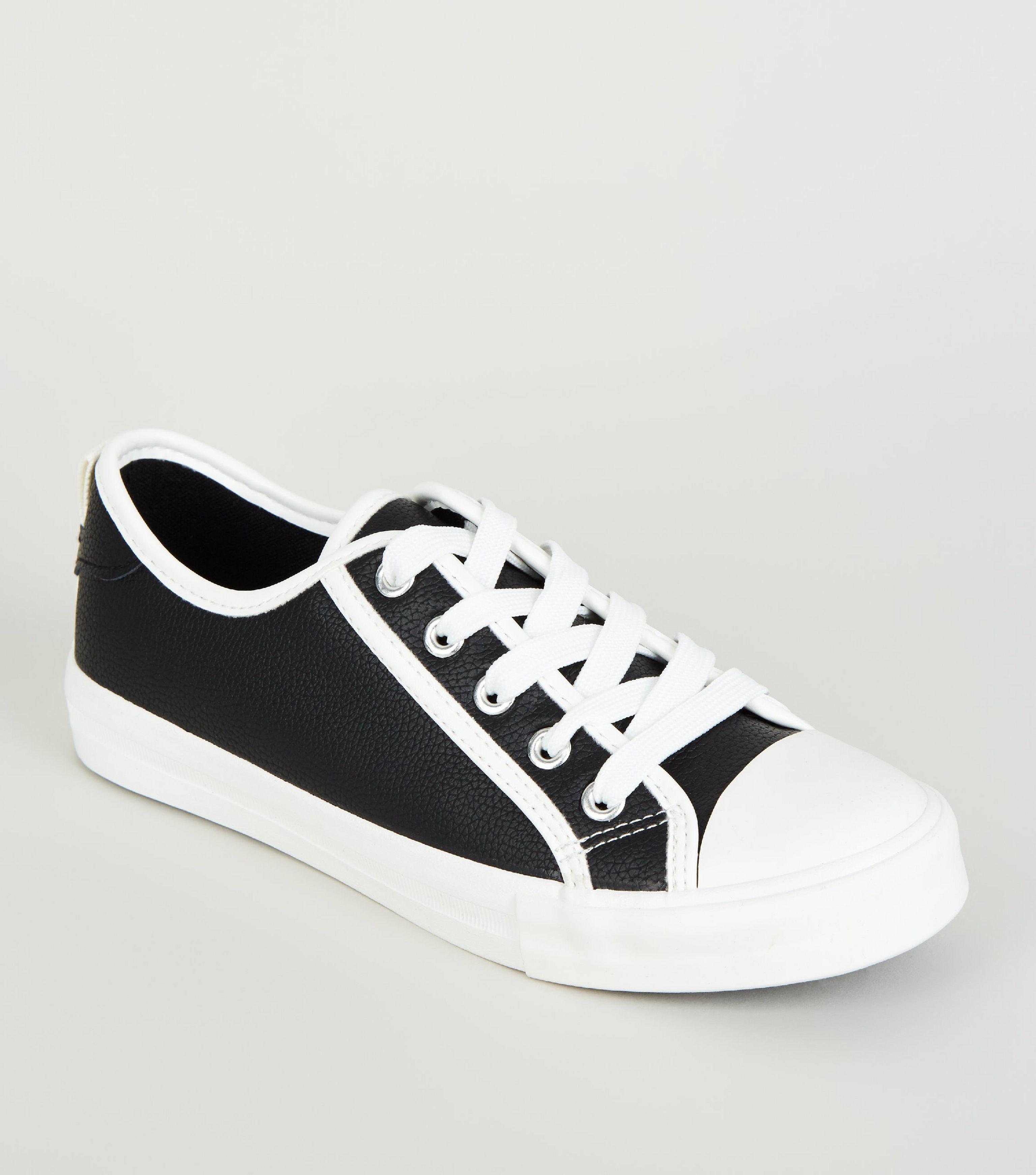New Look Girls Black Faux Snake Lace Up