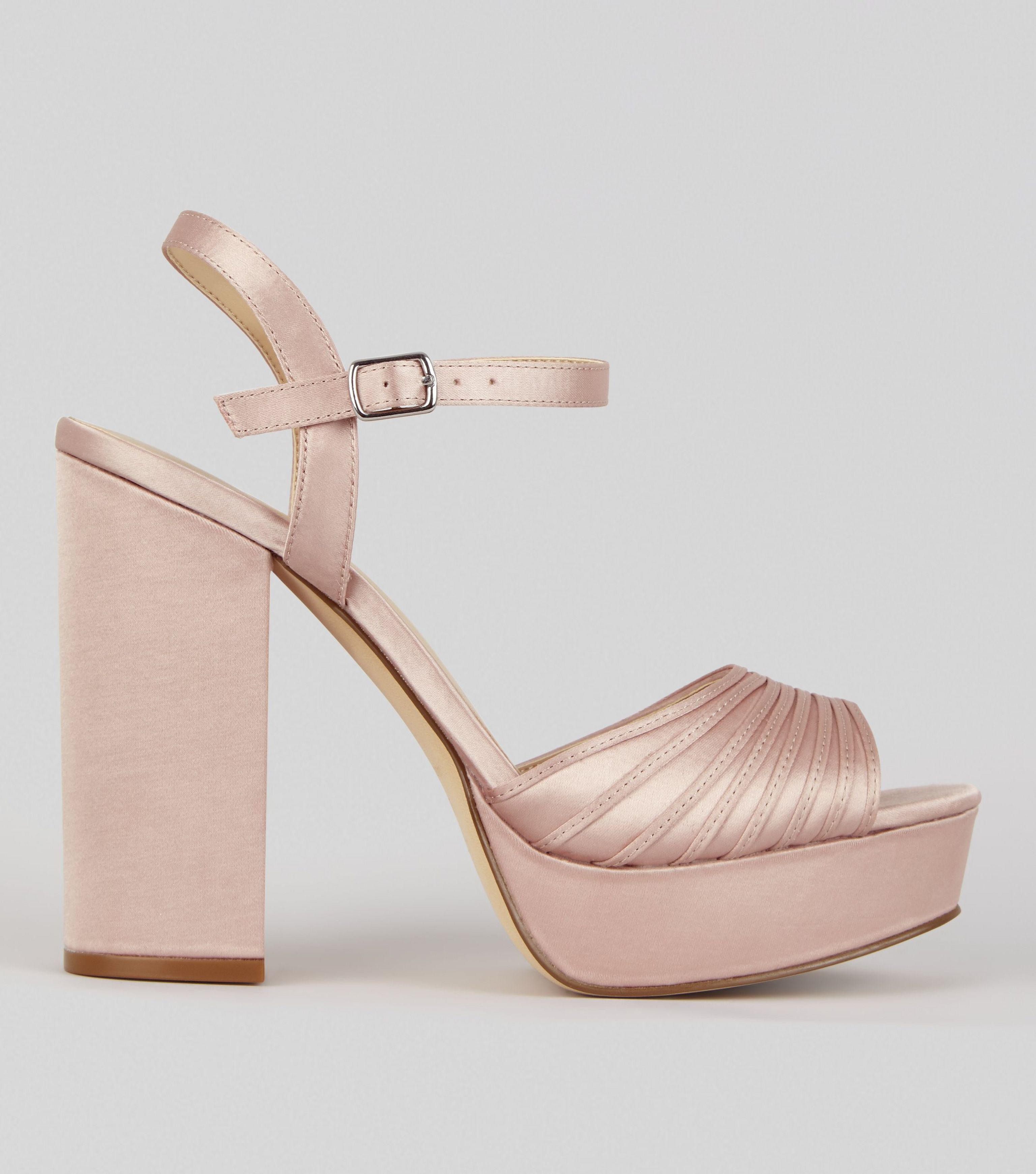 2189276e3d1 New Look Pink Satin Chunky Ribbed Platform Heels - Lyst