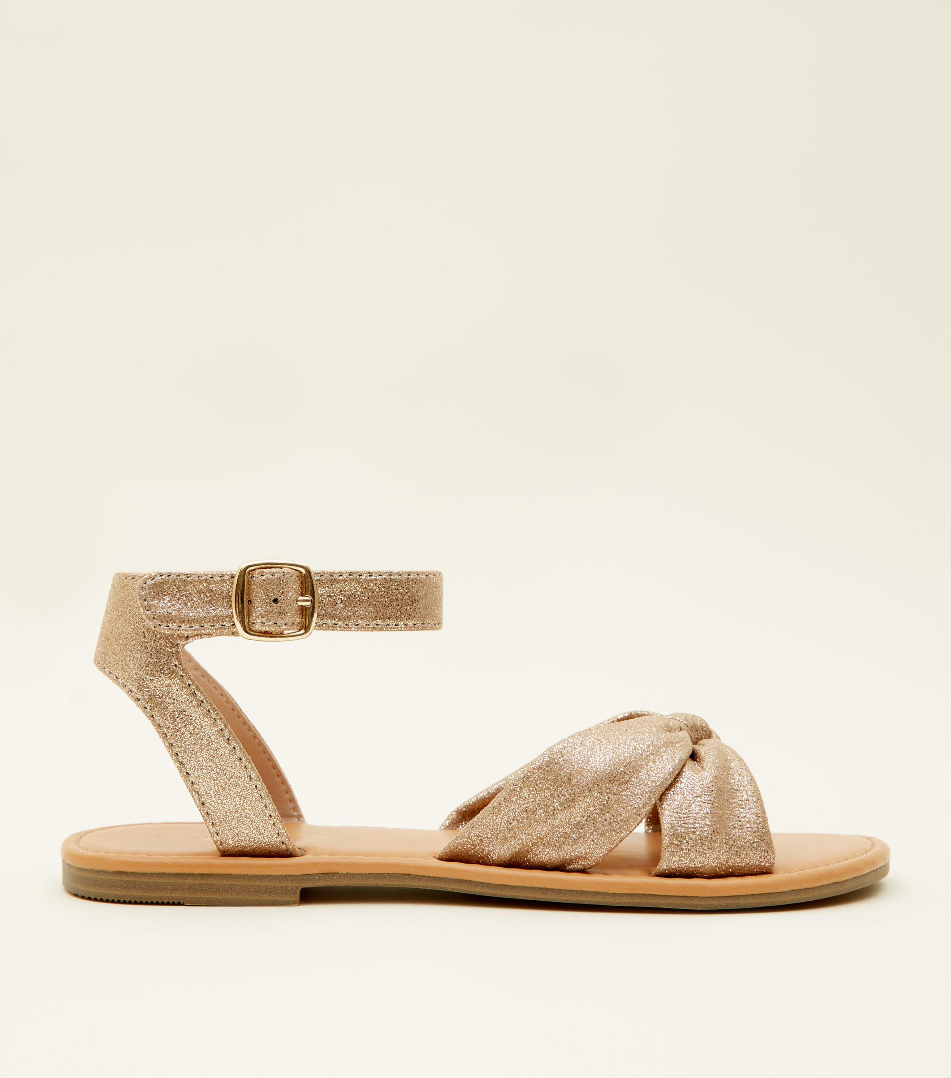 429094ae18d New Look Gold Glitter Bow Strap Flat Sandals in Metallic - Lyst