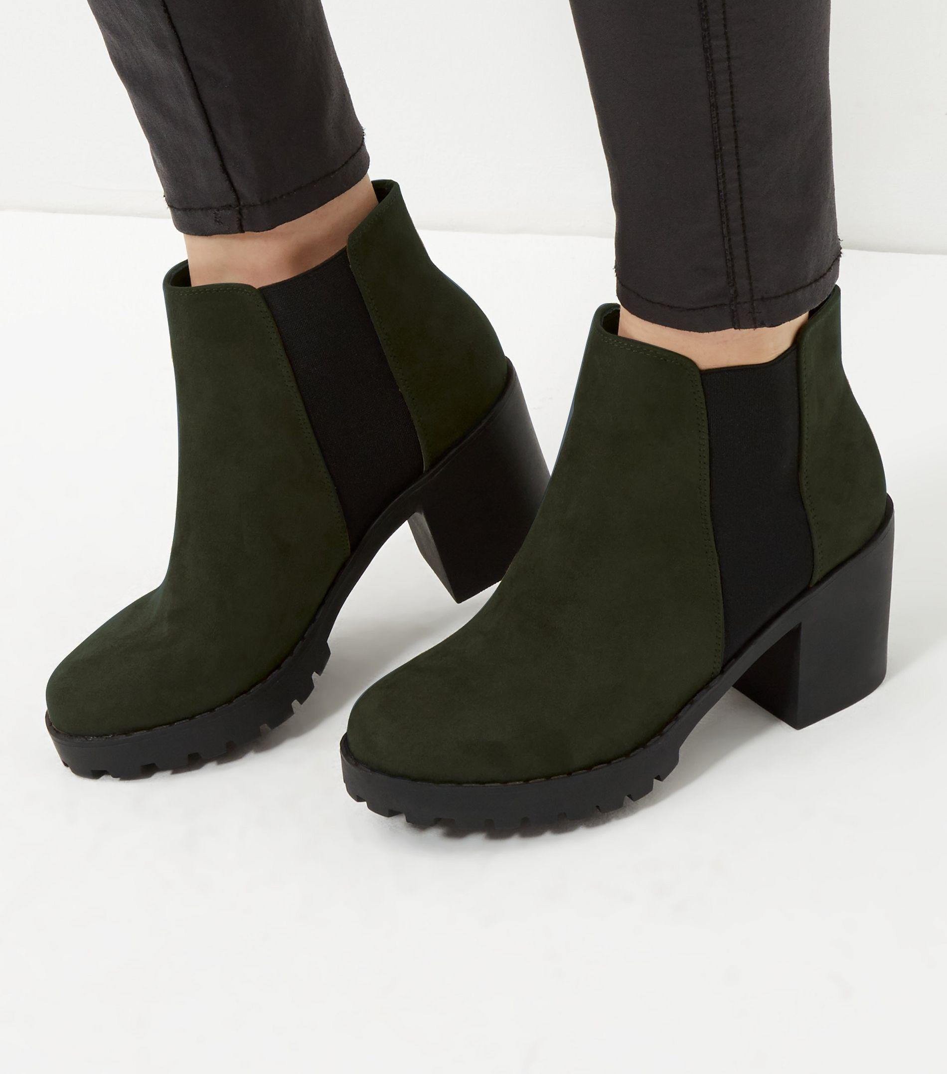 New Look Green Suedette Chunky Chelsea Boots