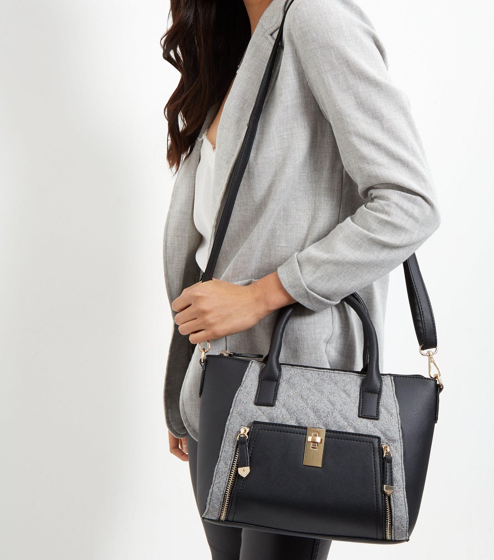 New Look Black Felt Panel Twist Lock Mini Tote Bag
