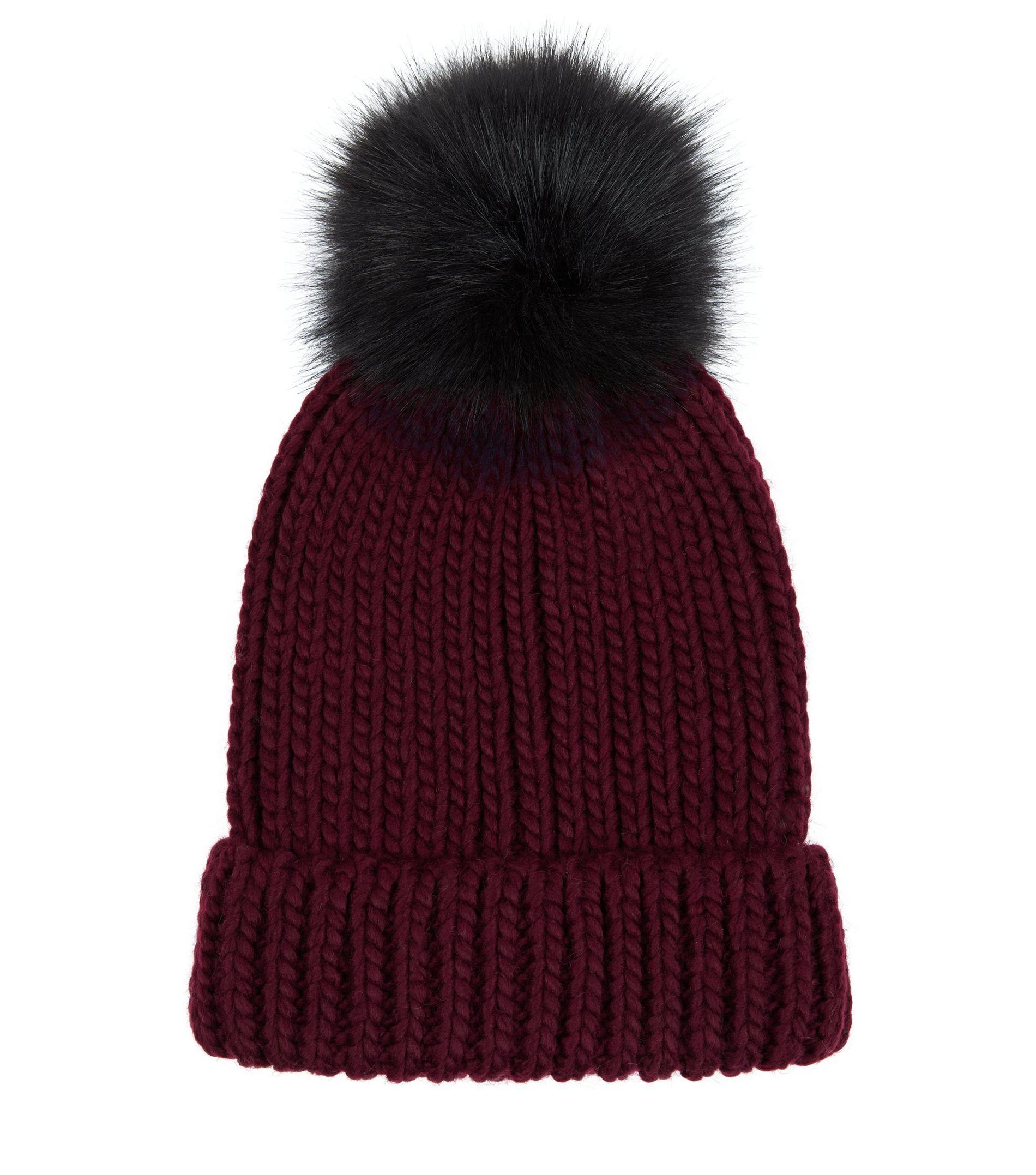 8e551ce56581e New Look Burgundy Faux Fur Pom Pom Hat in Purple - Lyst