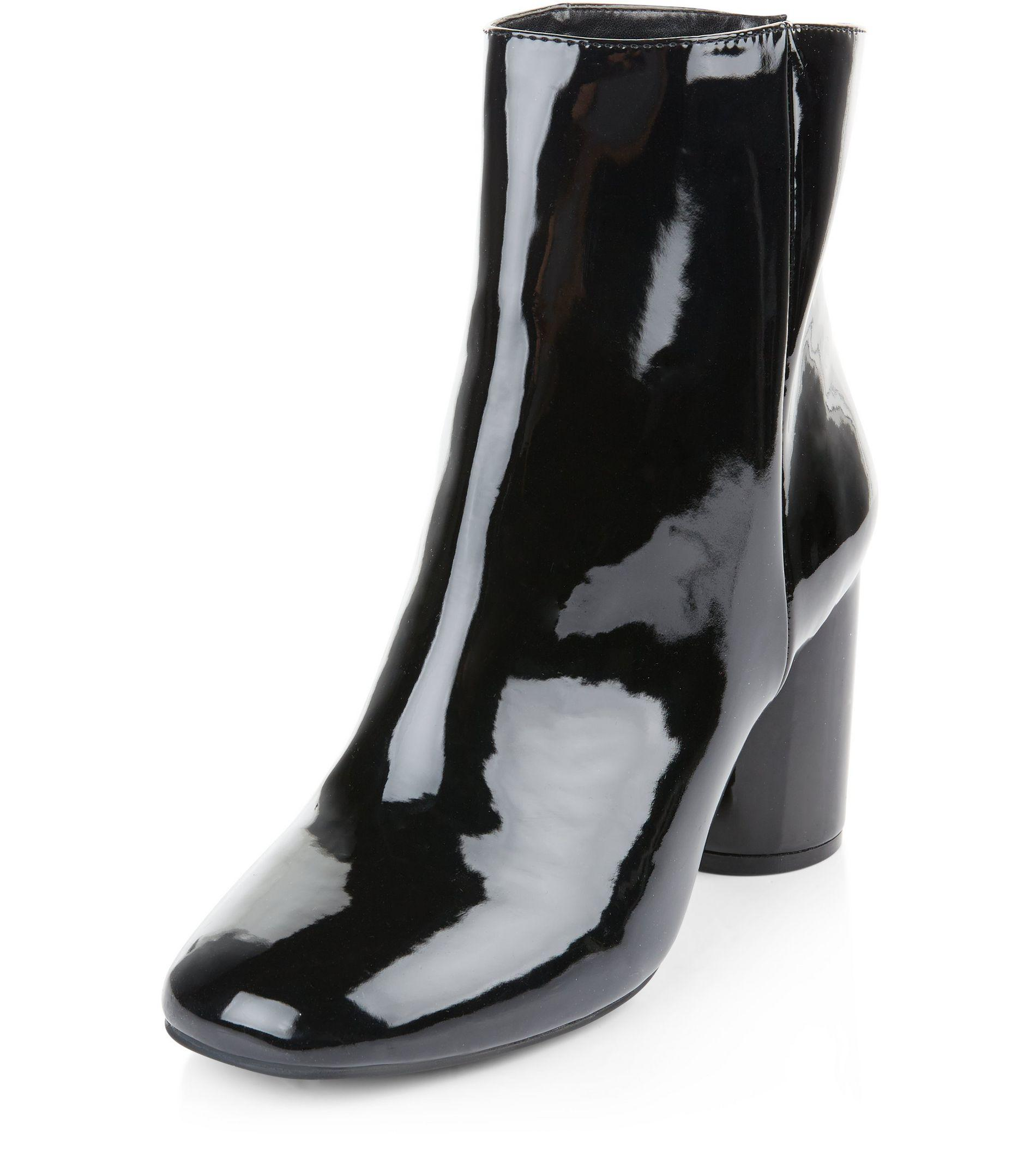 New Look Wide Fit Black Patent Cylindrical Heel Ankle Boots