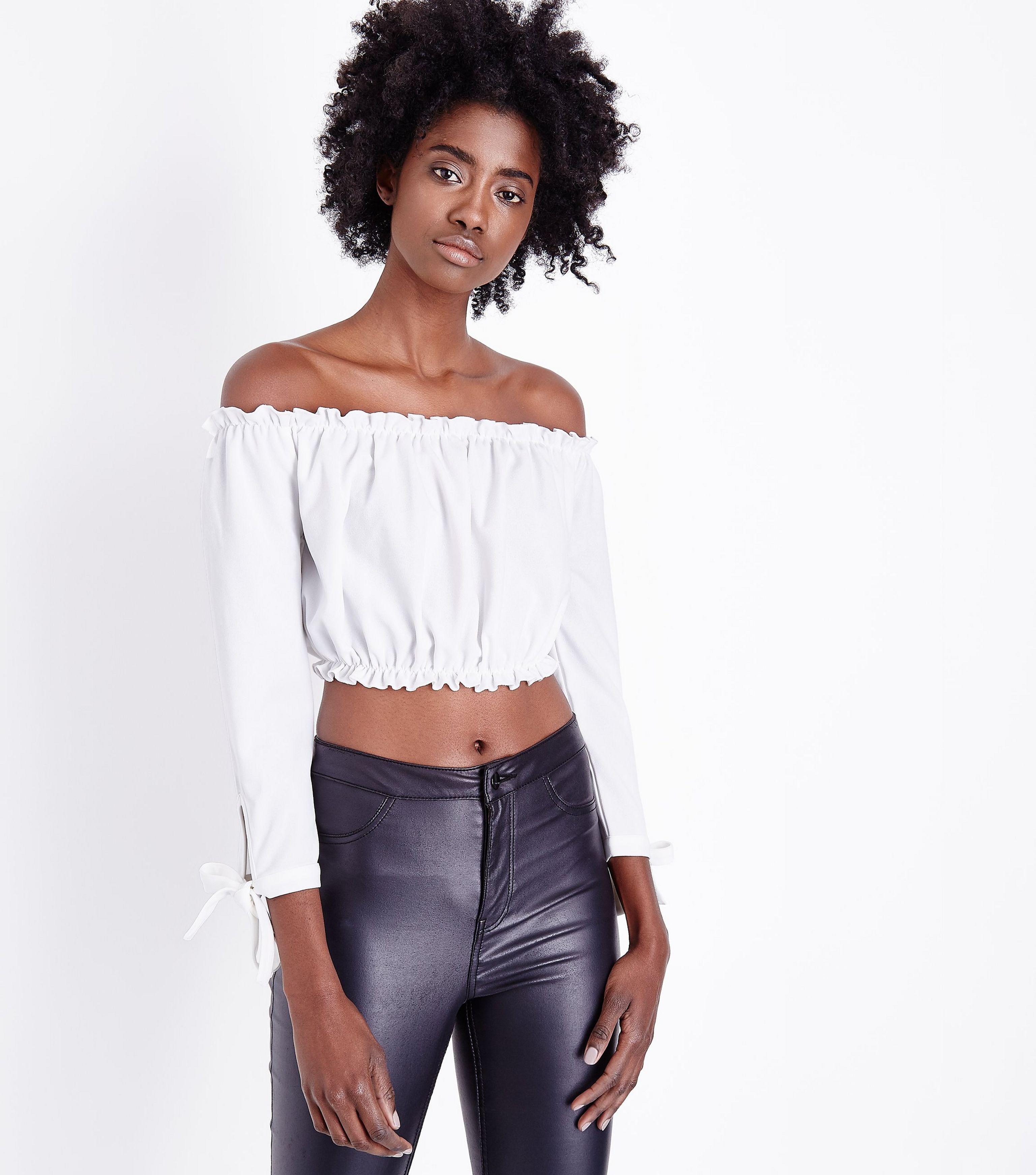 9914f21a80e82b New Look Off White Gathered Bardot Tie Sleeve Crop Top in White - Lyst