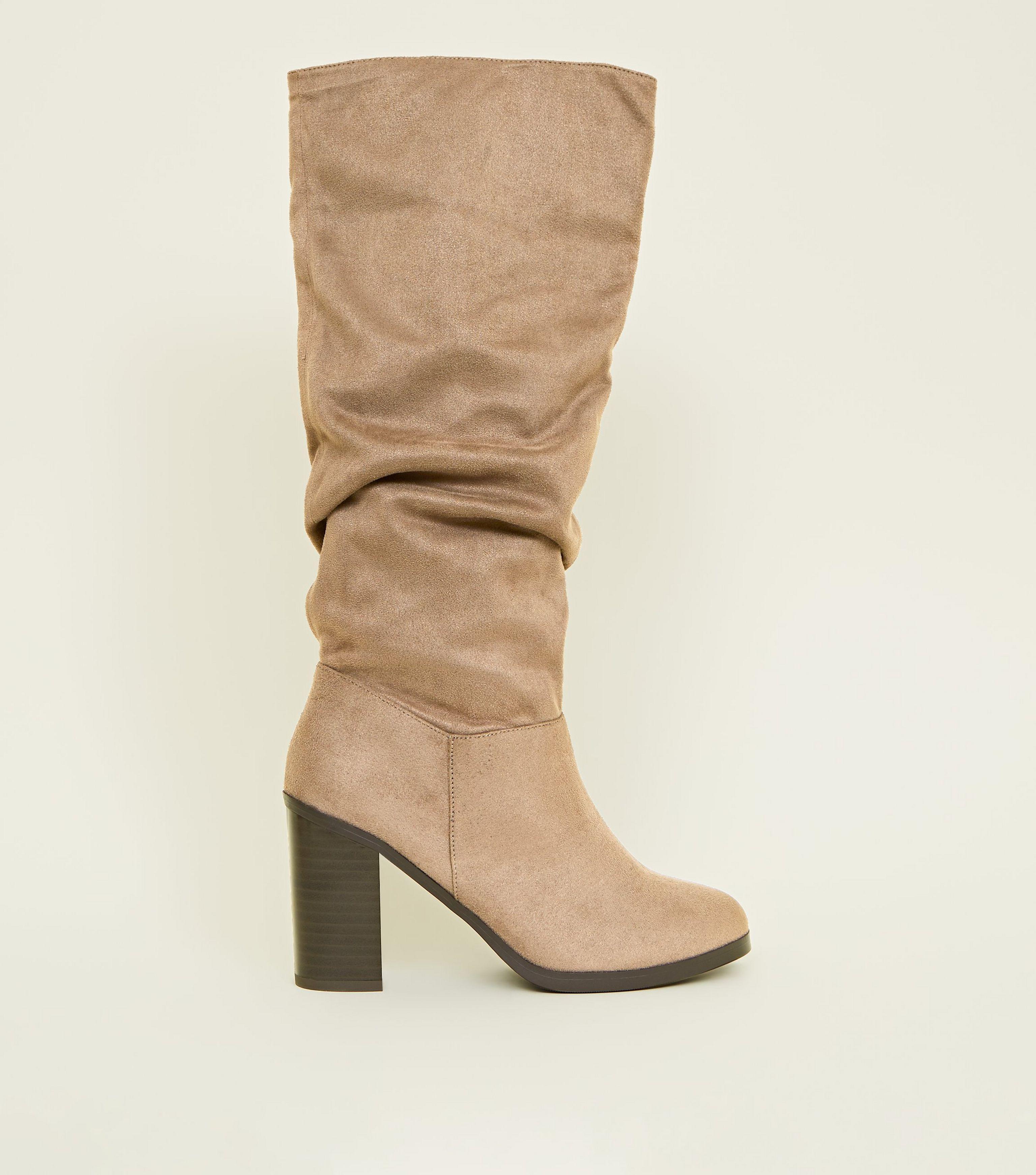 f8db9fd6593 New Look Light Brown Block Heel Knee High Boots in Brown - Lyst
