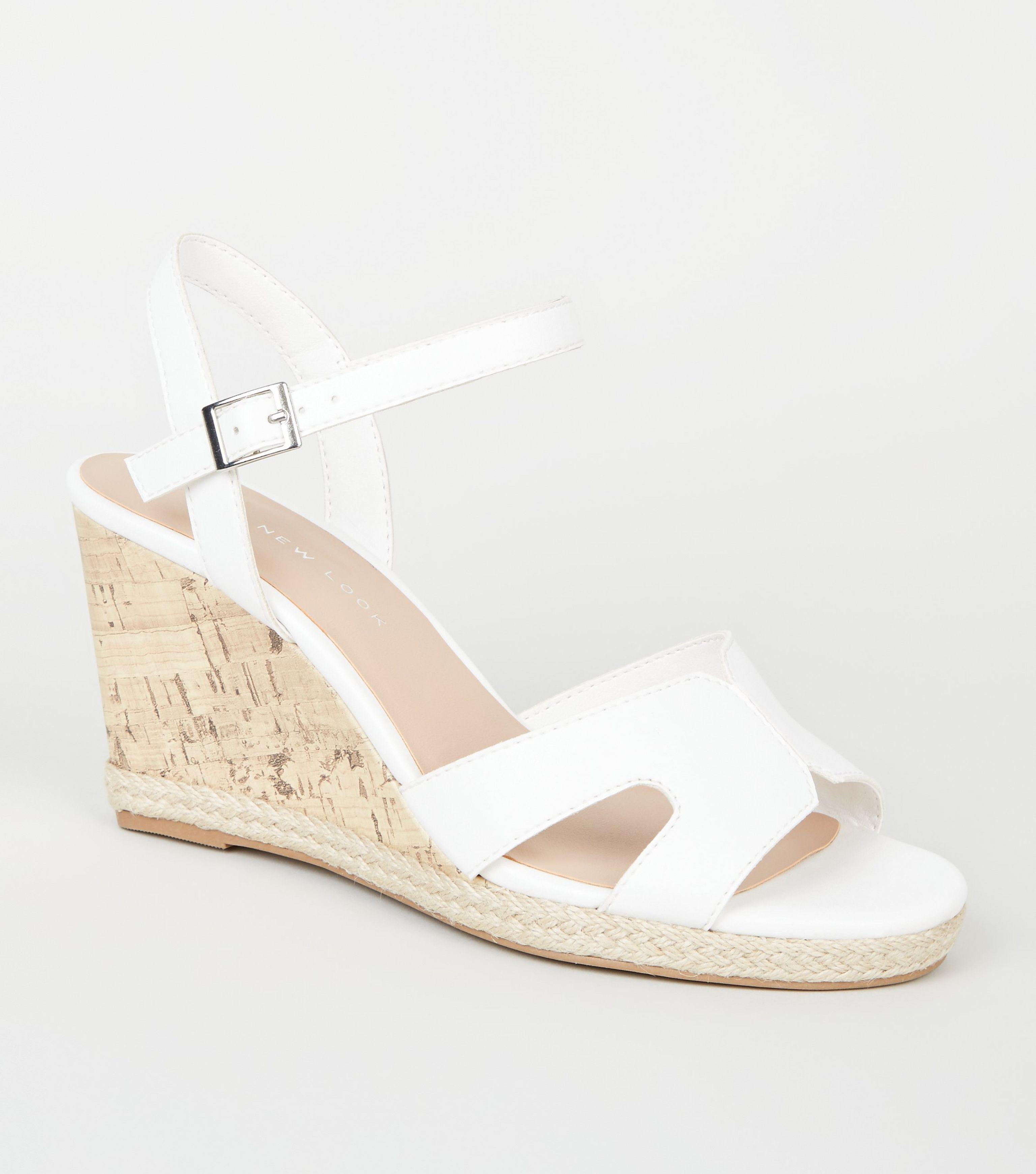New Look Leather Wide Fit White Cork