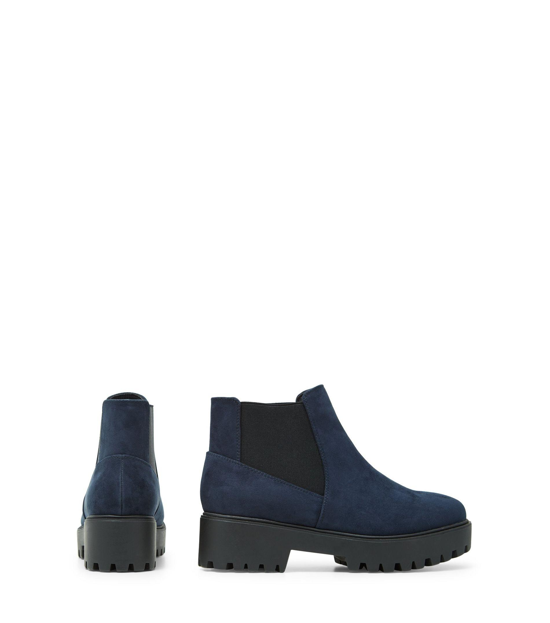 New Look Wide Fit Navy Chunky Cleated Sole Chelsea Boots in Blue