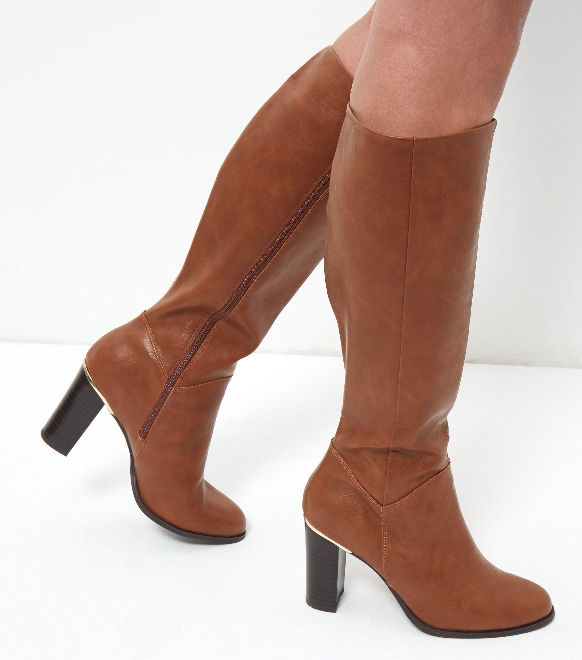 new look knee high leather look metal trim block heel