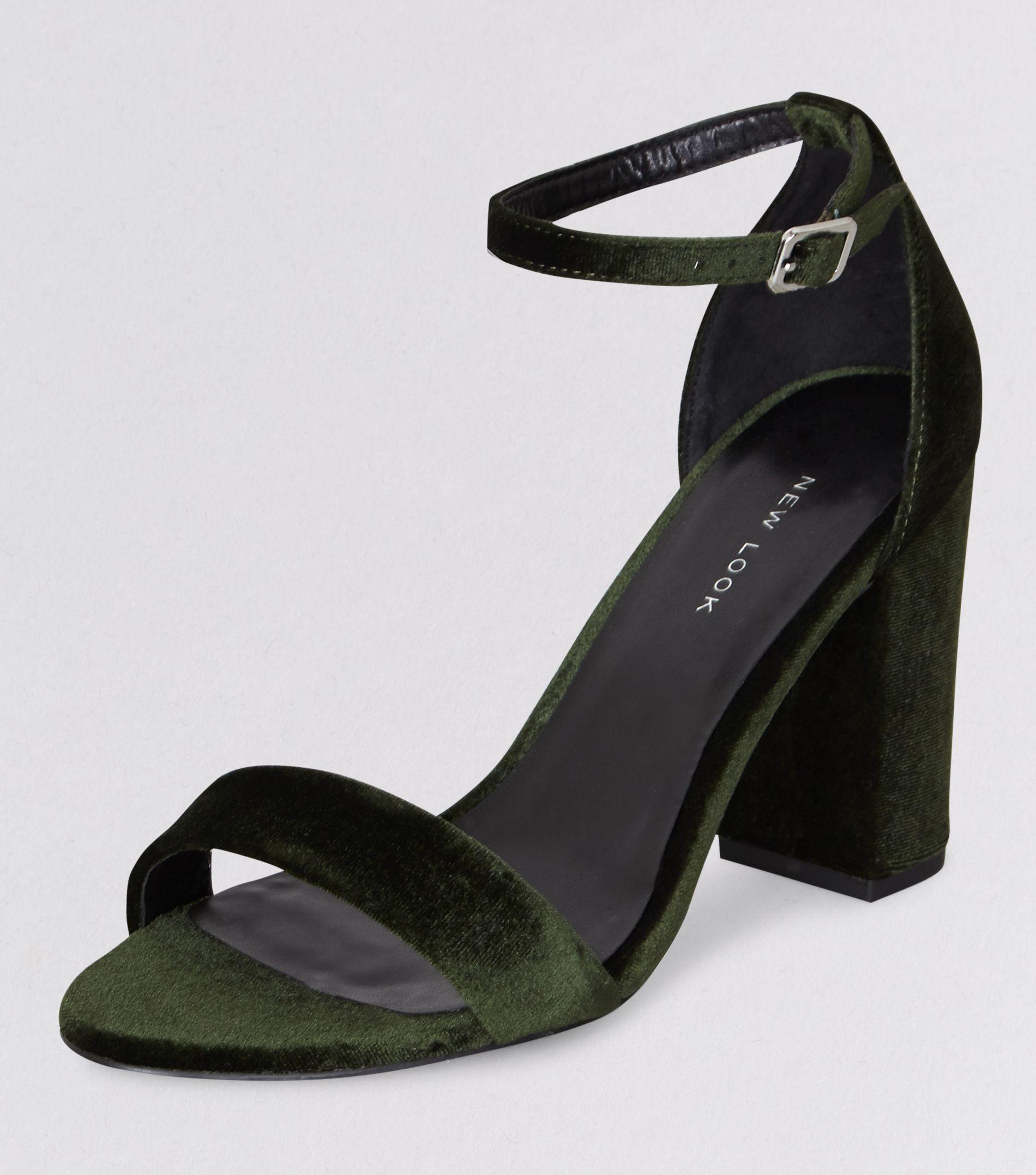 New Look Dark Green Velvet Block Heels Lyst