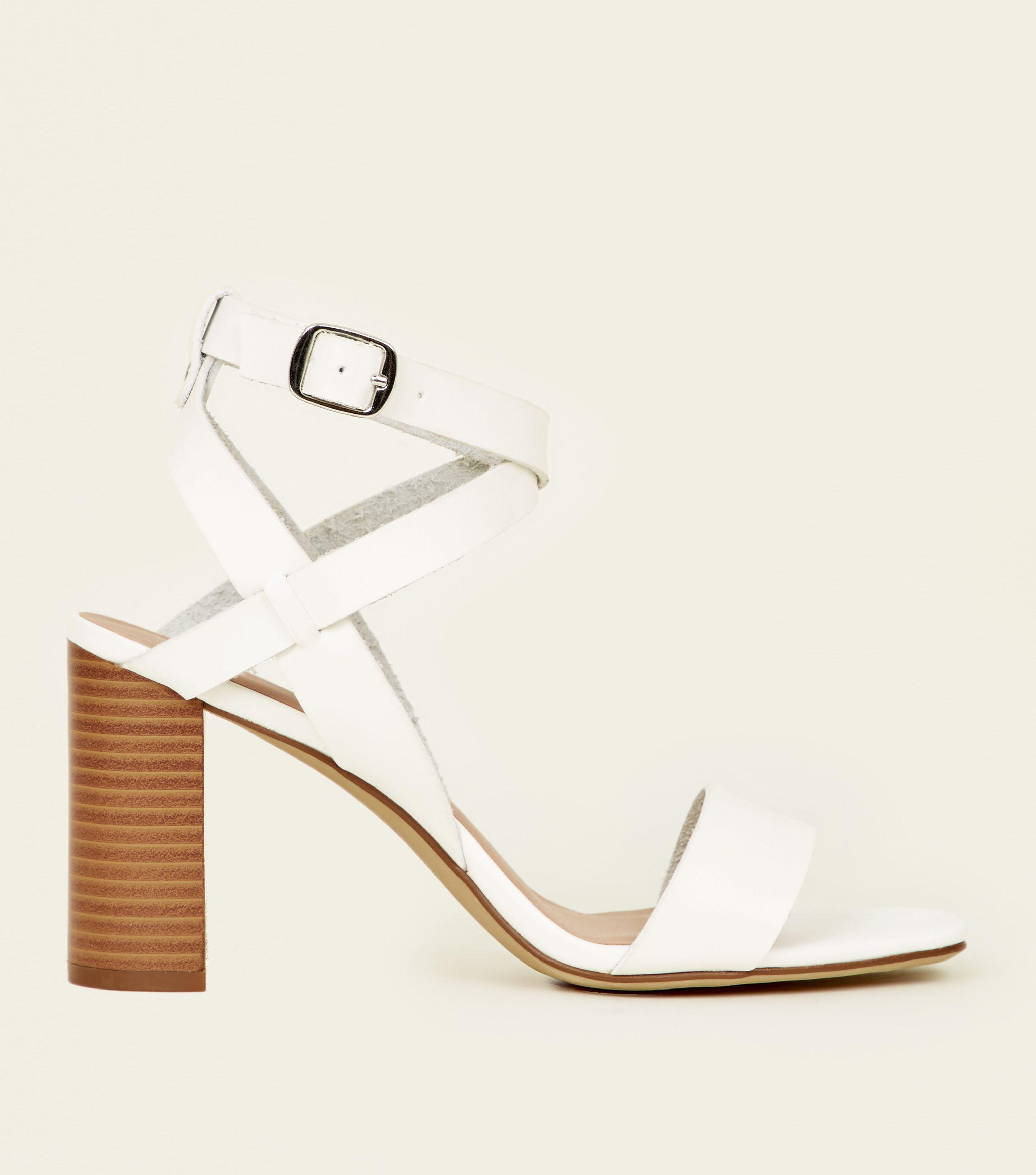 ebfde360f8a New Look White Leather-look Square Toe Block Heel Sandals in White ...