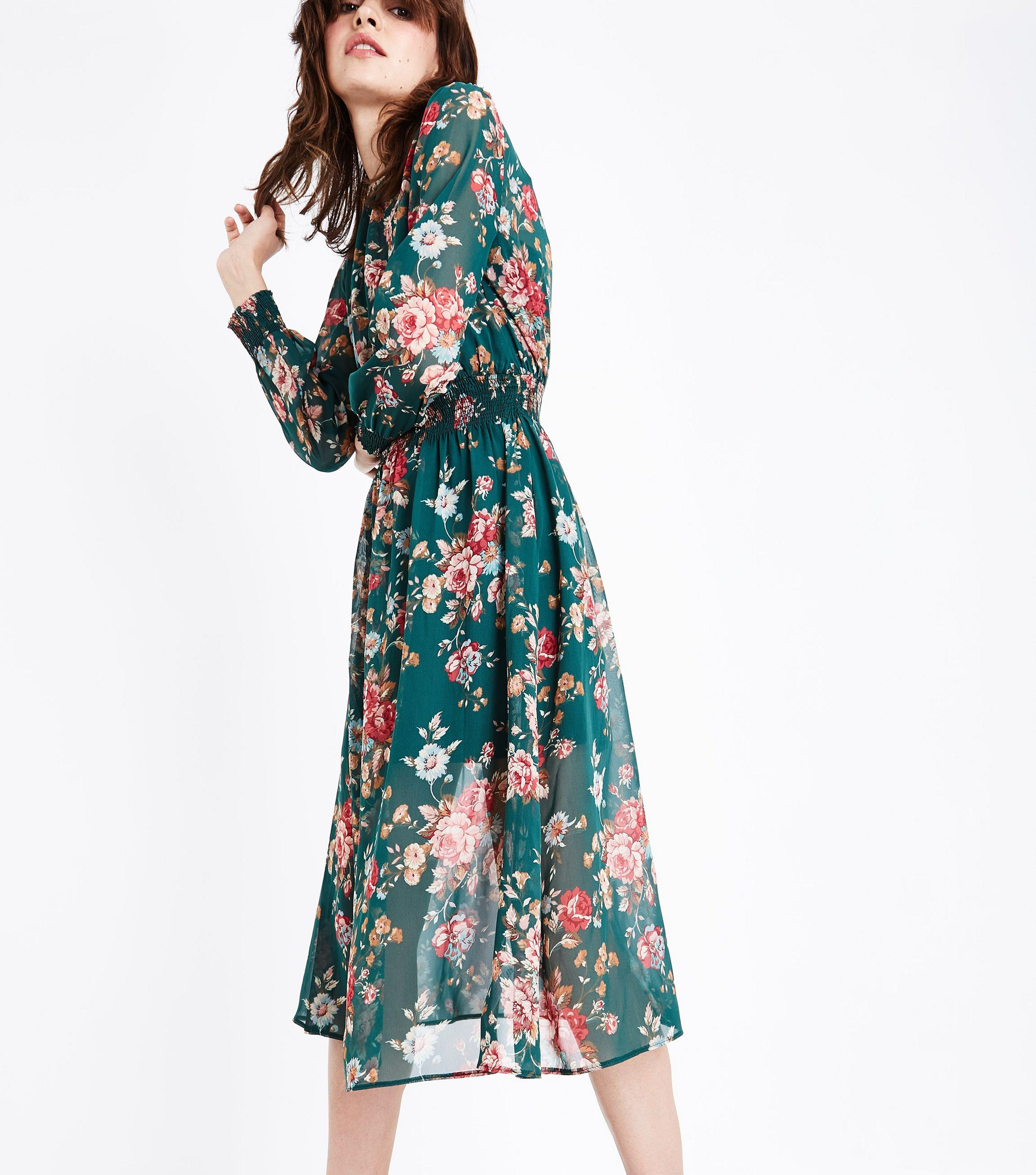 d9ccb49b4 New Look Green Chiffon Floral Print Midi Dress in Green - Lyst