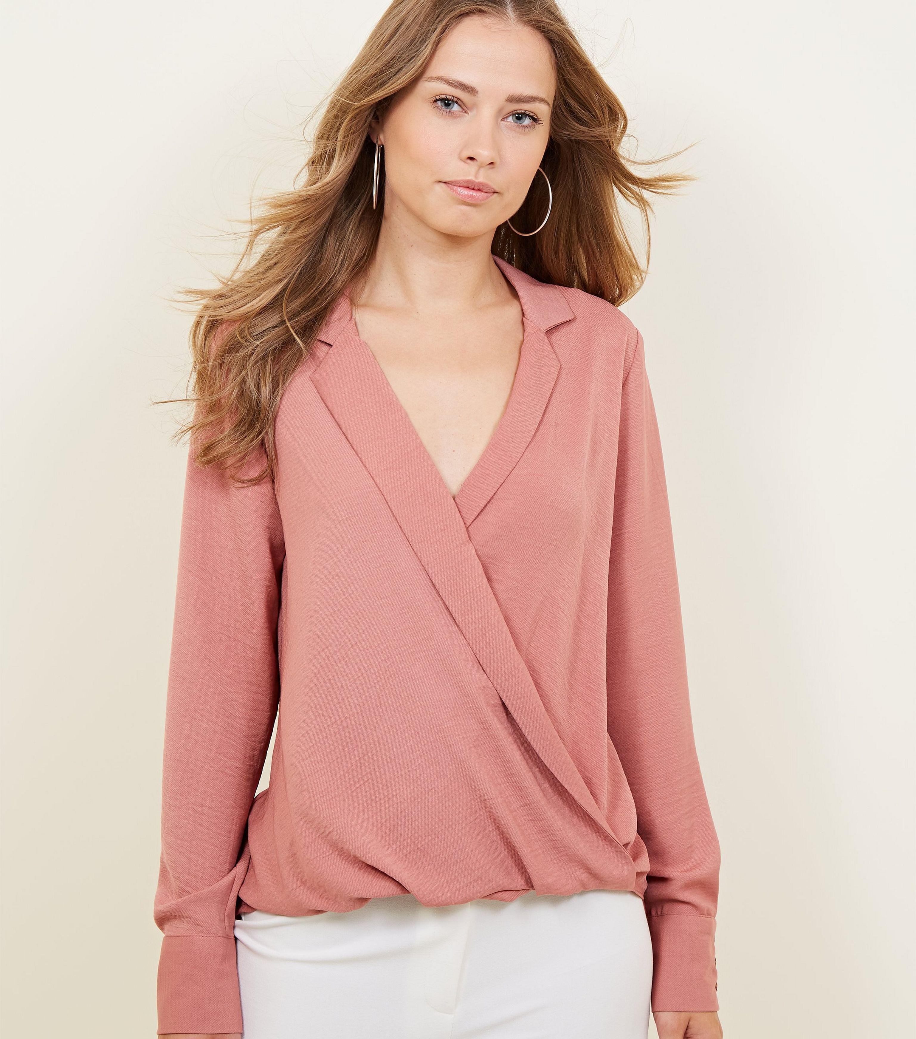 76d7d4594f973 New Look Pink Wrap Front Revere Collar Top in Pink - Lyst