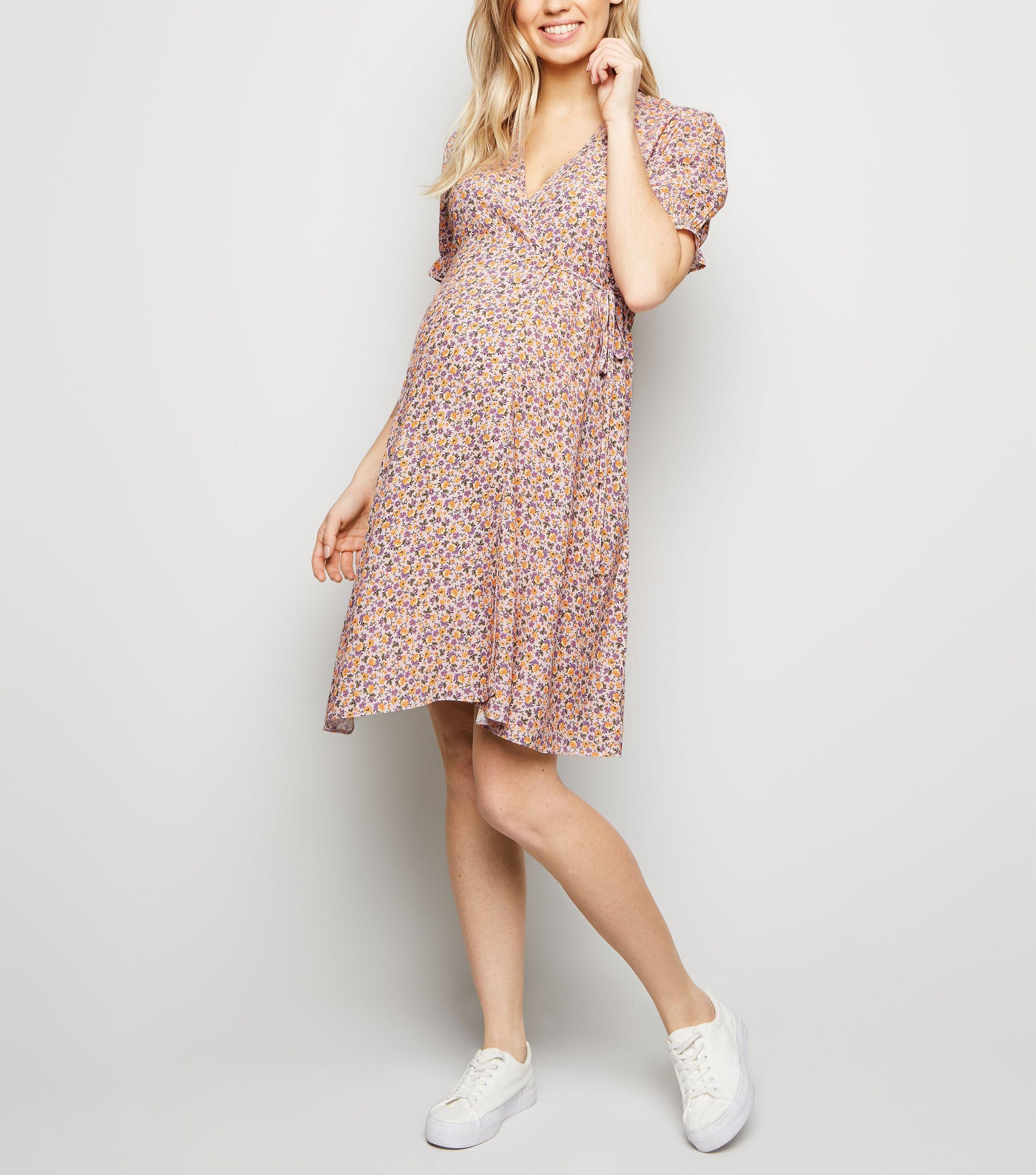 38f60ad1970b1 New Look Maternity Pink Floral Frill Hem Wrap Dress in Pink - Lyst