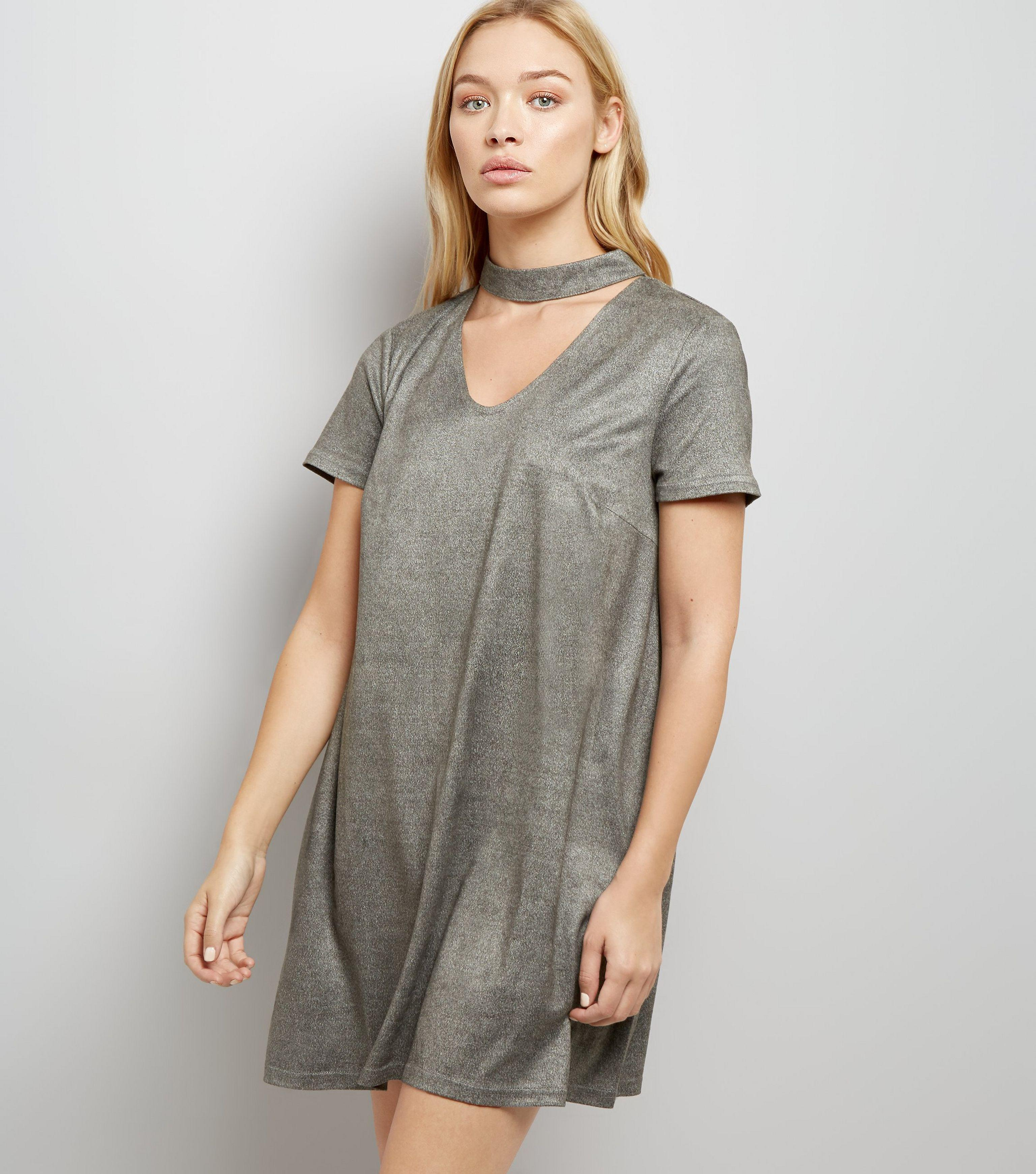0cb7afc7542af New look grey suedette choker neck dress in gray lyst jpg 3073x3484 Grey  choker neckline dress