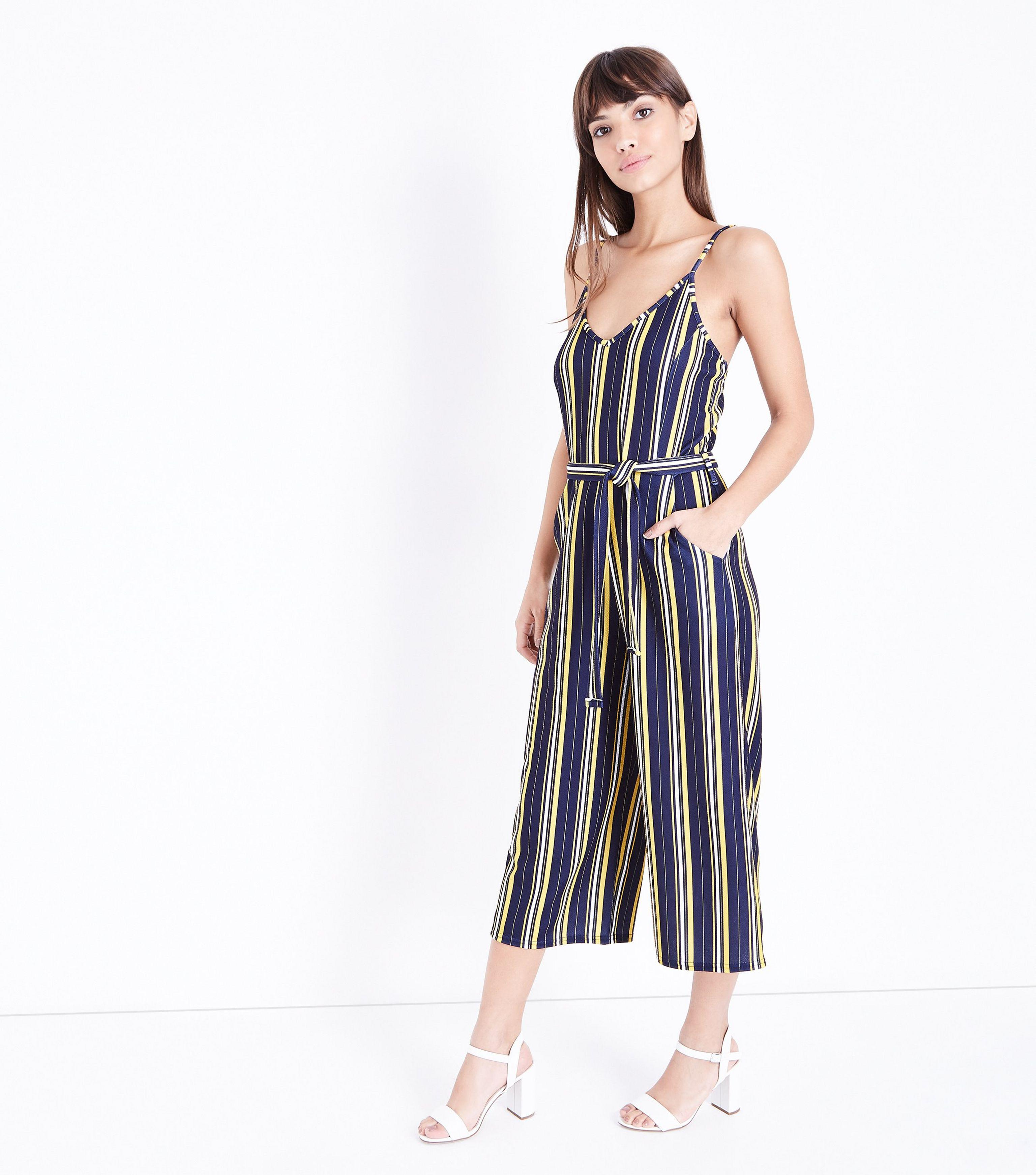 c68700b764c4 New Look Navy Stripe V Neck Culotte Jumpsuit in Blue - Lyst